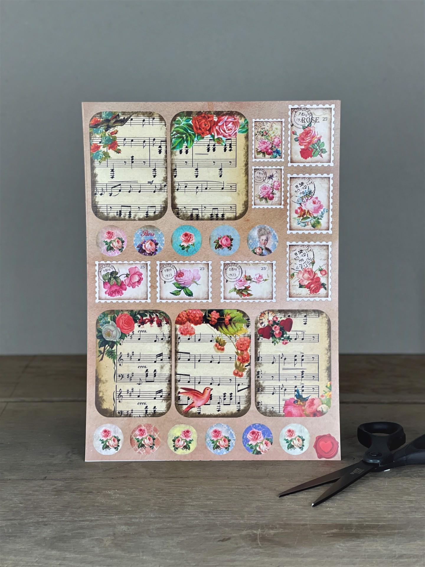 Stickerbogen Rosen und Noten