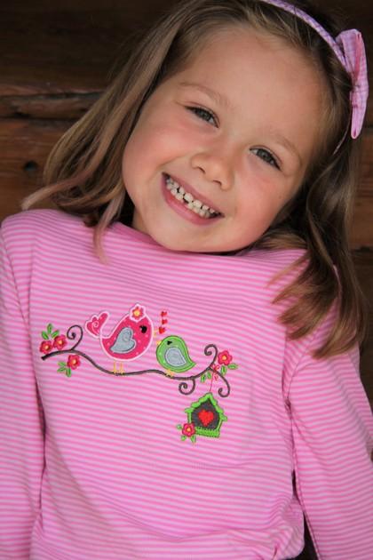 Shirt Vogel rosa Rock braun/rosa