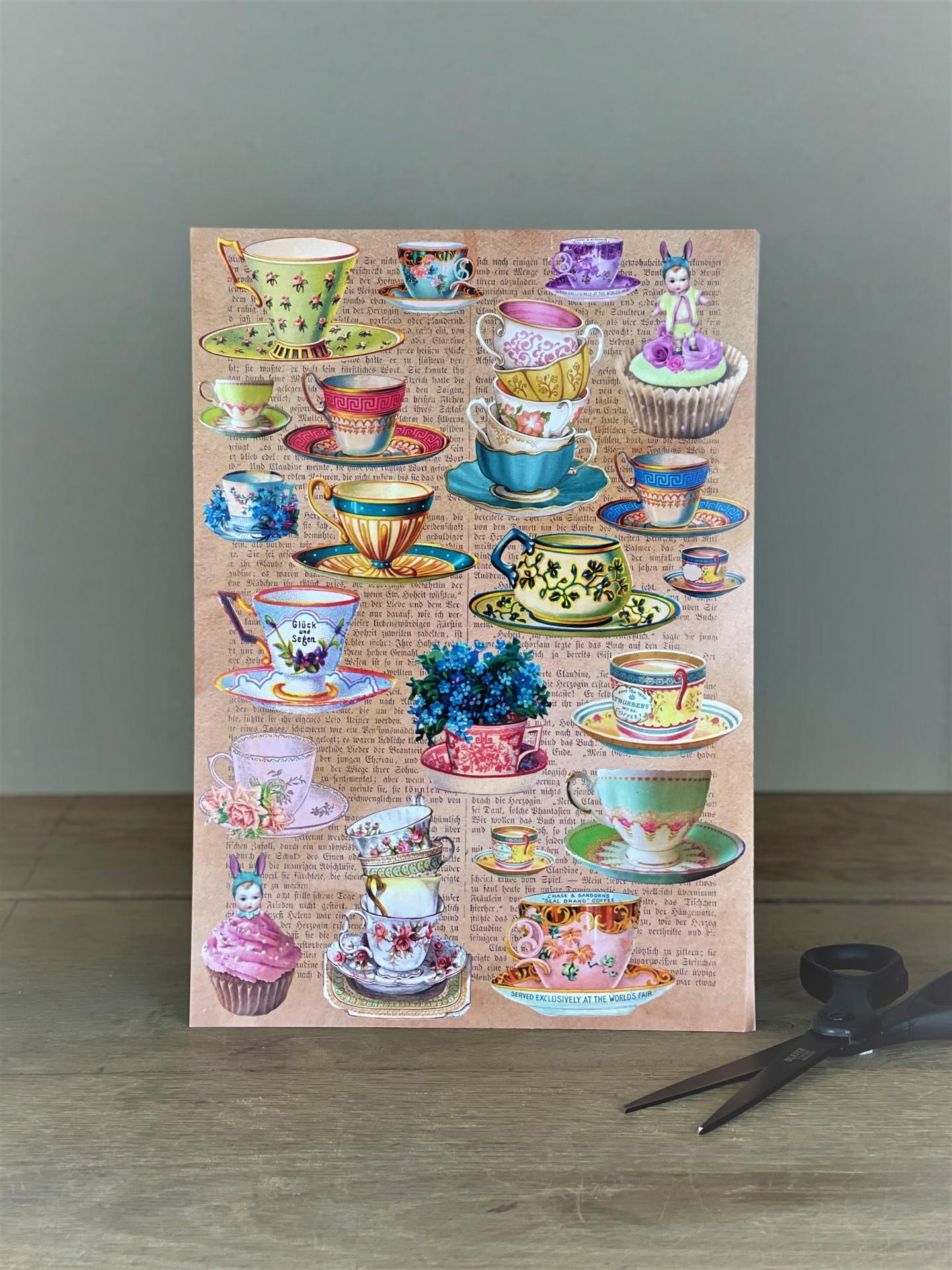 Stickerbogen Teetassen