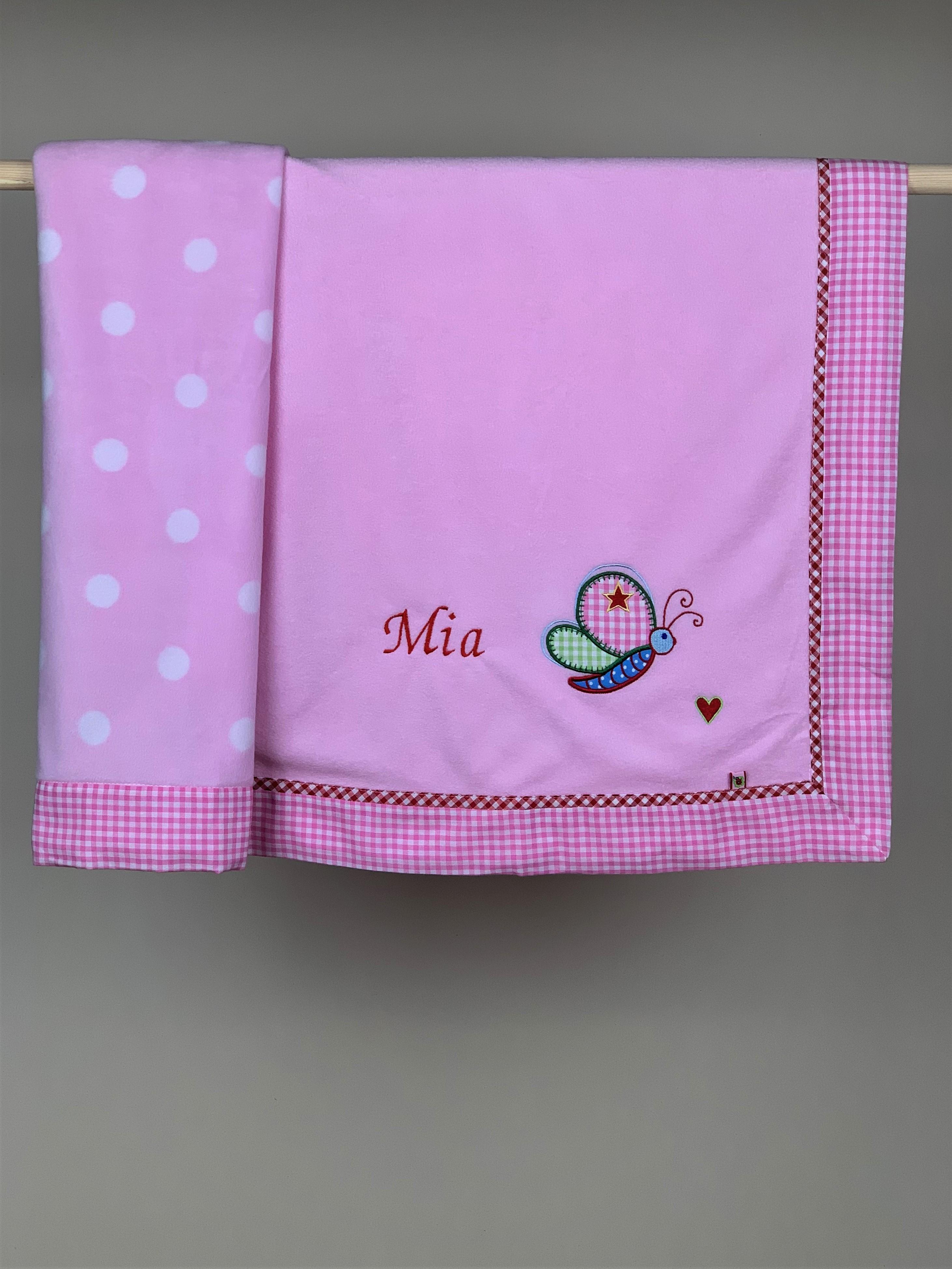 Babydecke No. 01 Schmetterling rosa