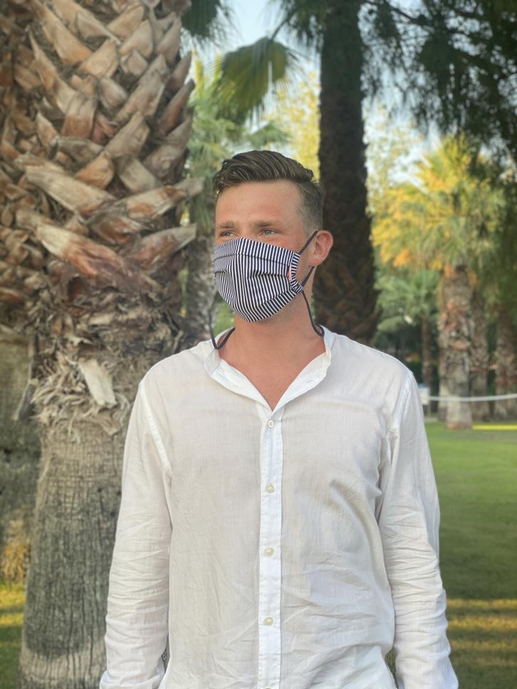 Herzilein Stoffmaske  Men schwarz/weiß gestreift