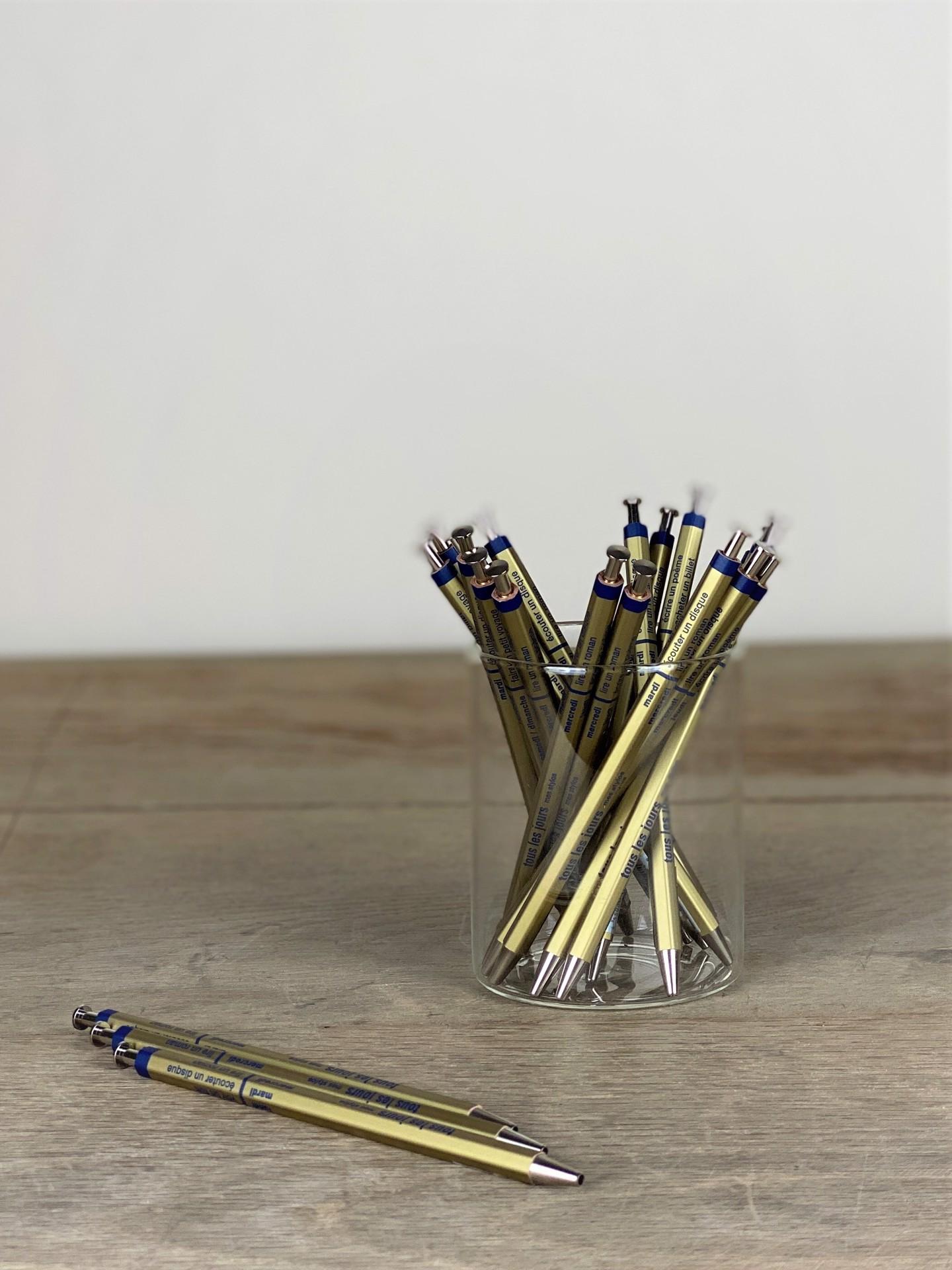 Kugelschreiber extraschlank mit japanischer Needlepoint Mine gold