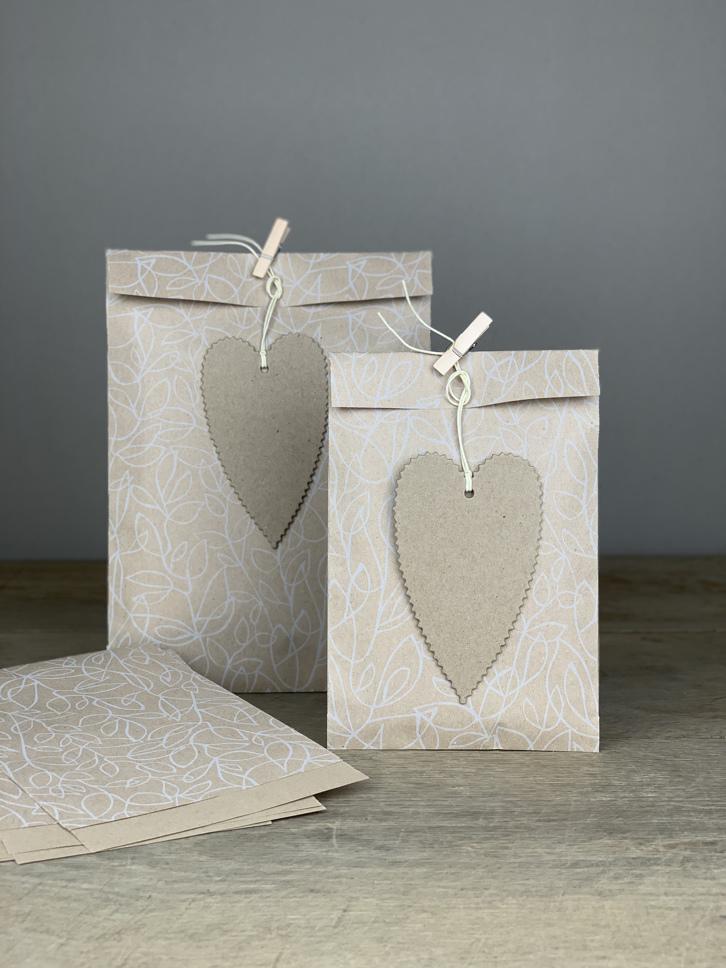 Geschenktüten Set/10Stk. Blätter natur/weiß