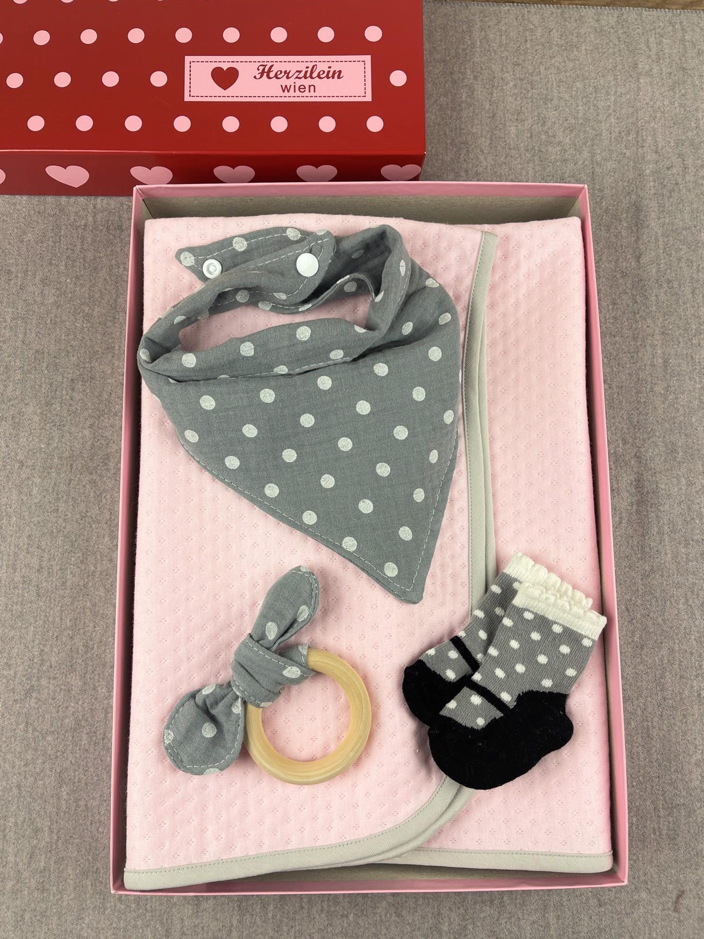 Geschenkbox Set No. 29 Dots rosa/grau