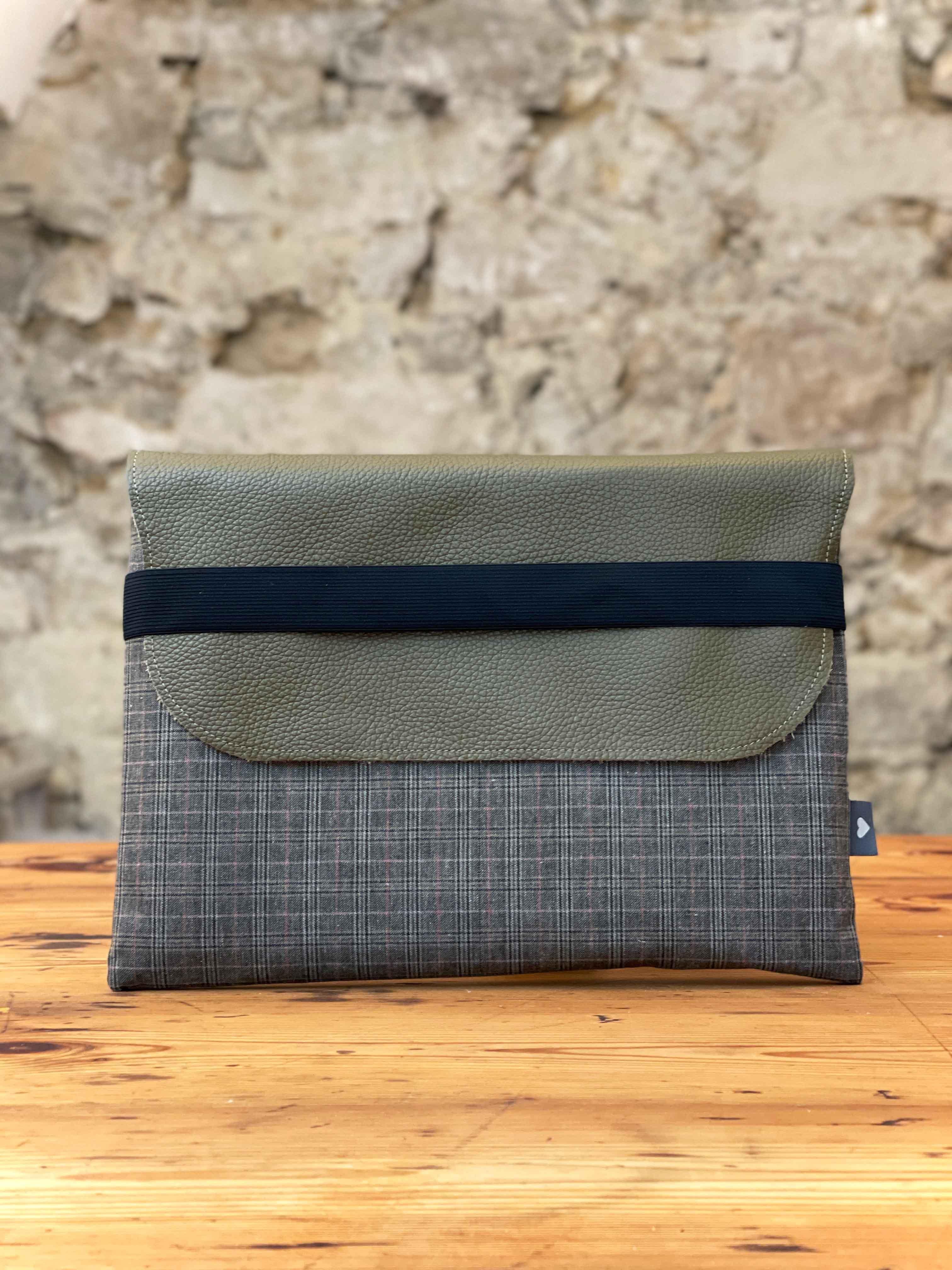 Laptoptasche Leder mit Stoff olive