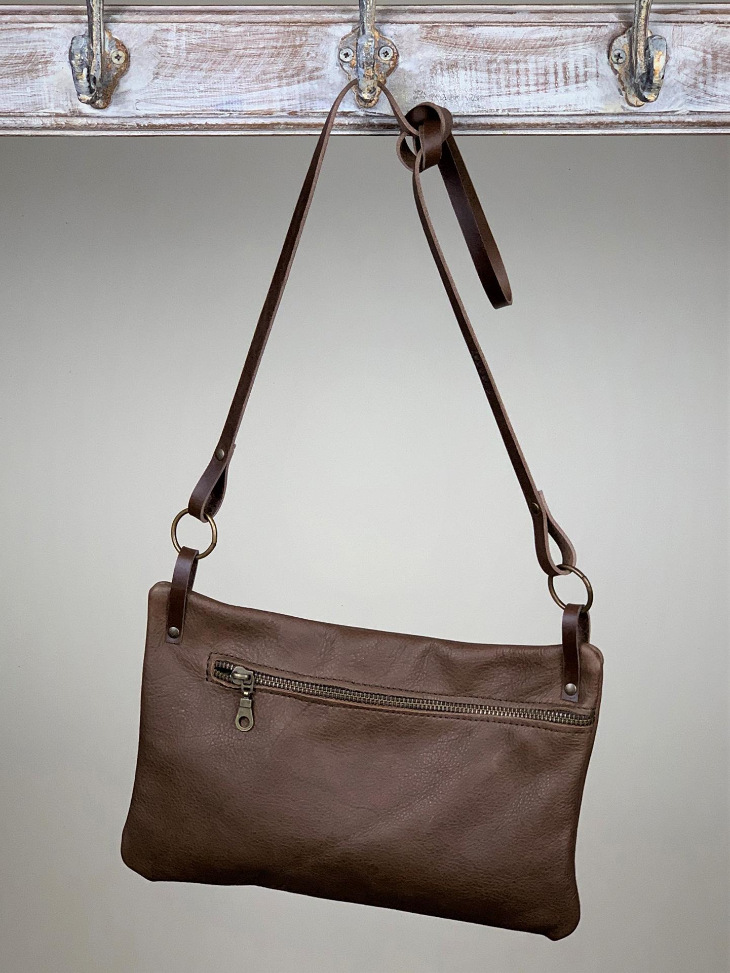Damen-Handtasche klein Leder Braun