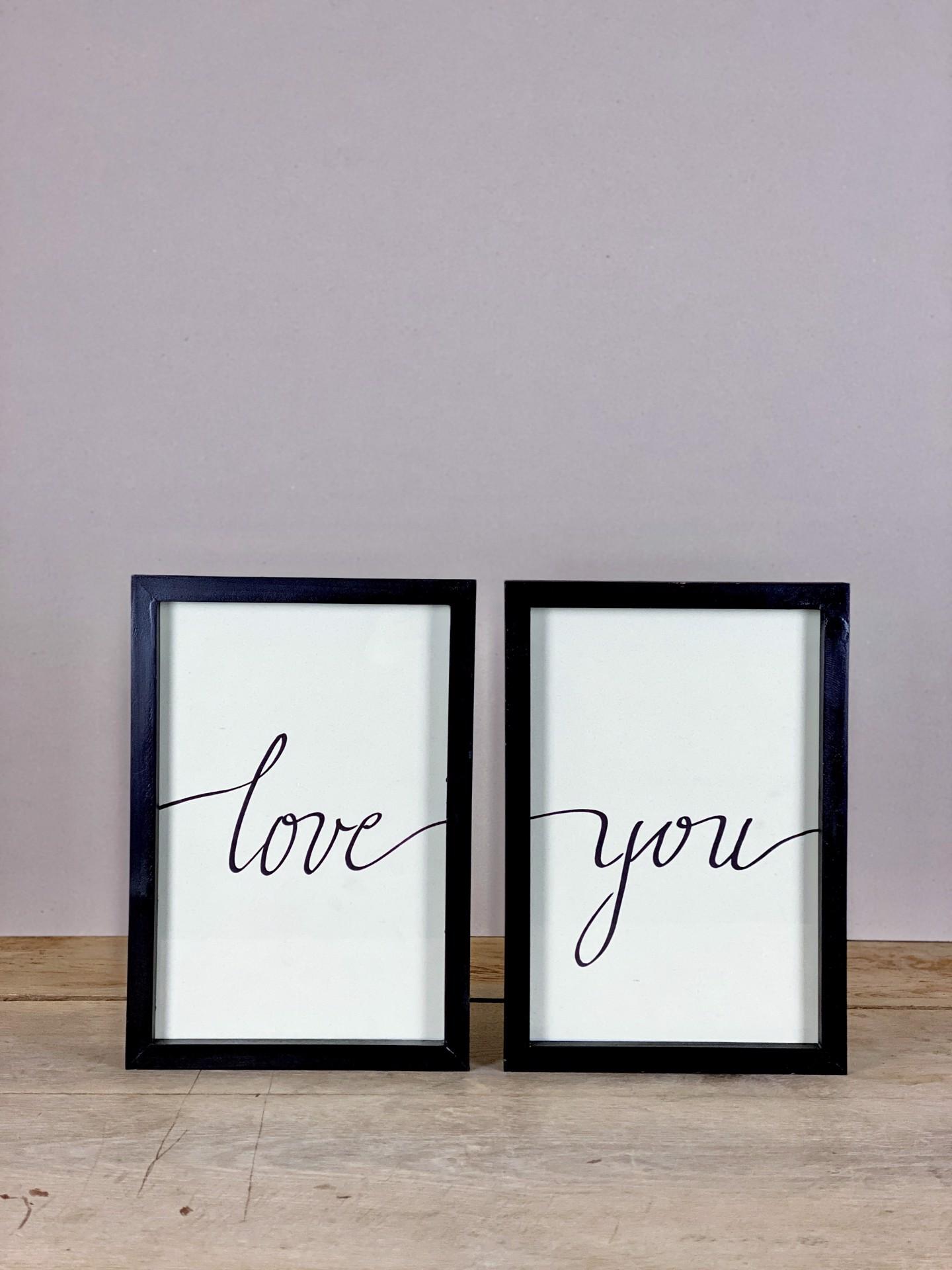Bilder-Set Love You handgeschrieben