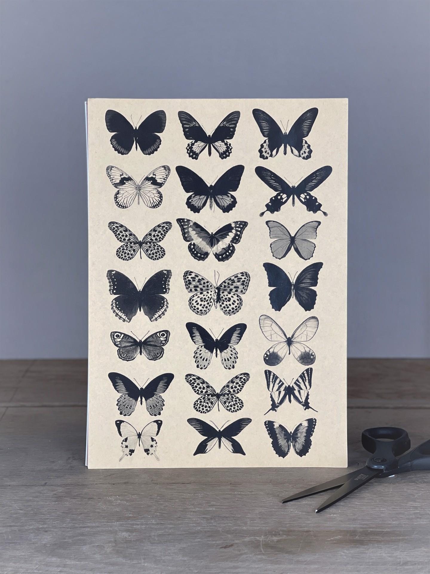 Stickerbogen Schmetterlinge  schwarz-weiß