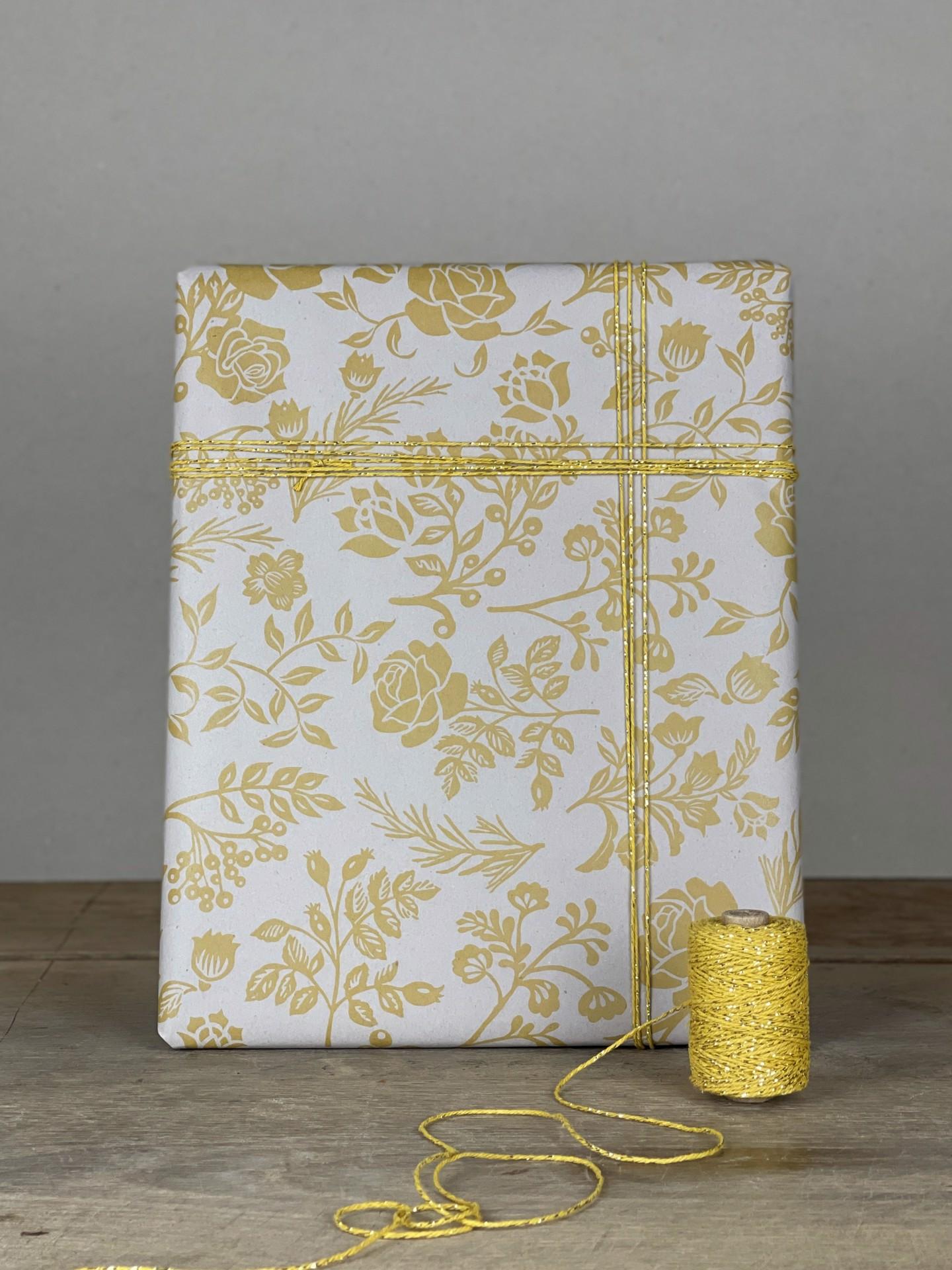 Geschenkpapier Floral natur/gelb