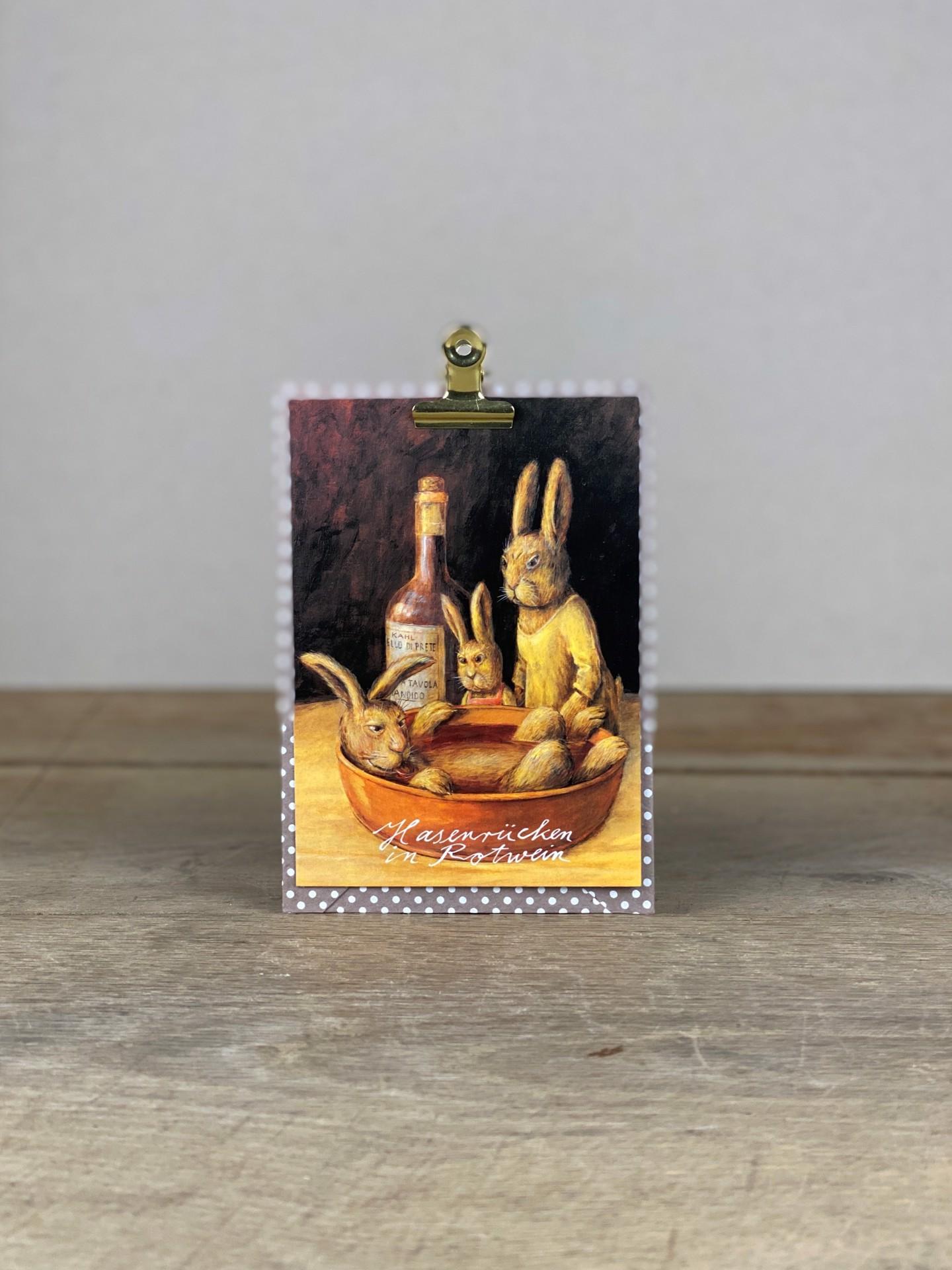 Postkarte Hase im Rotwein