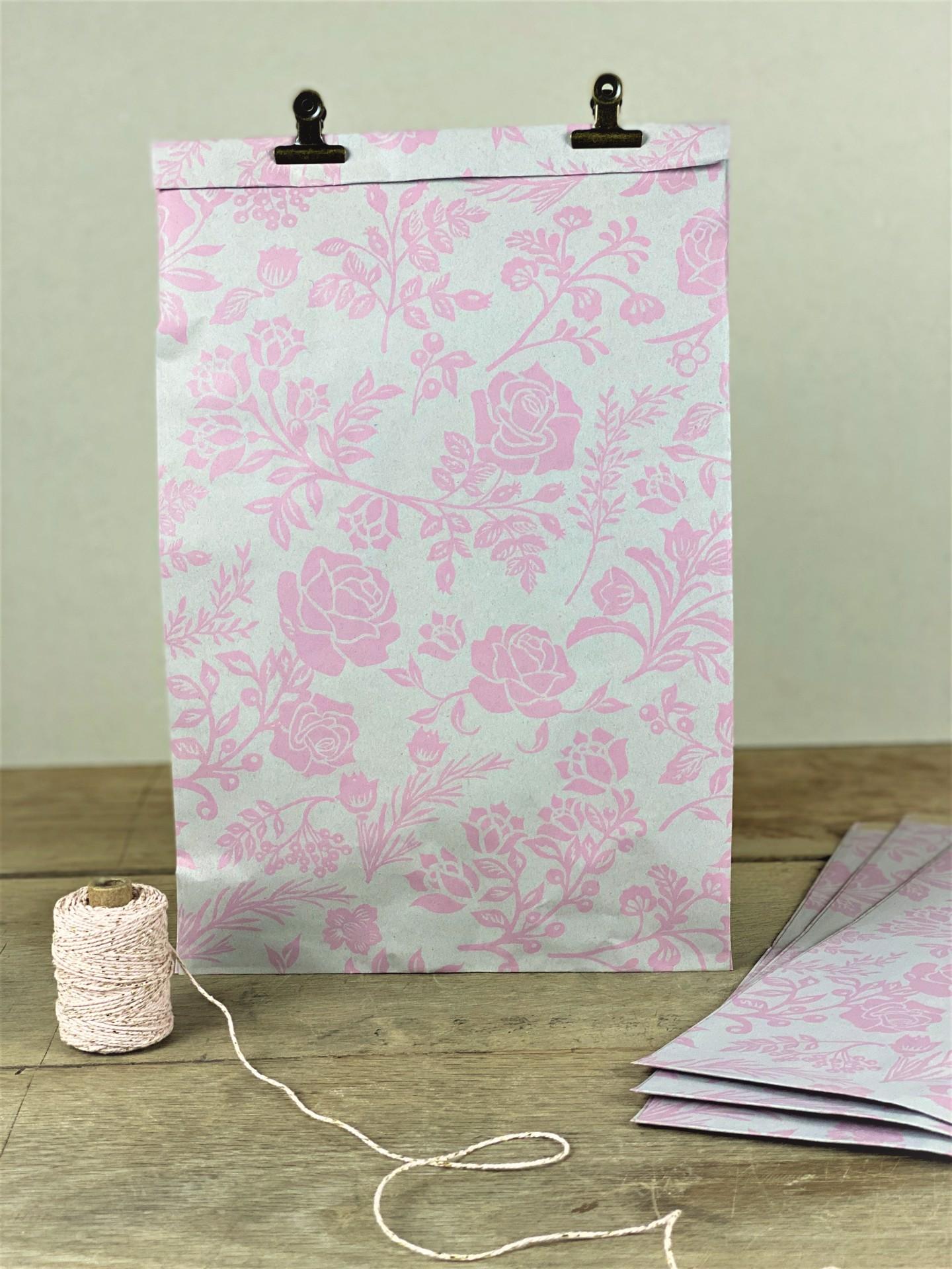 Geschenktüte Seitenfalter floral rosa 3er Set