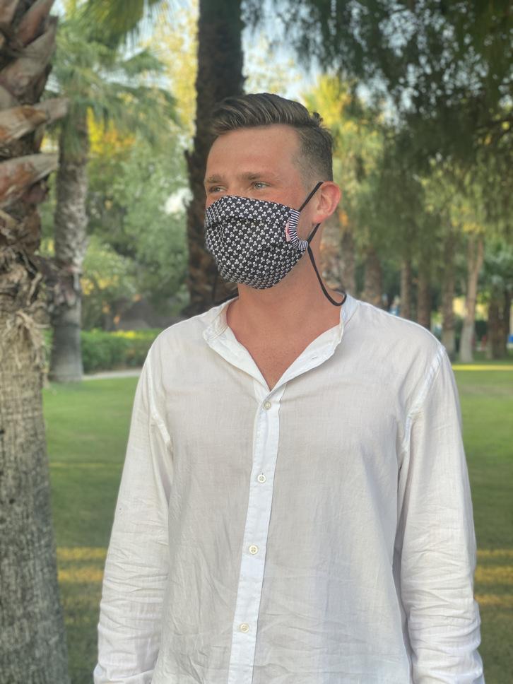 Herzilein Stoffmaske  Men schwarz Totenkopf