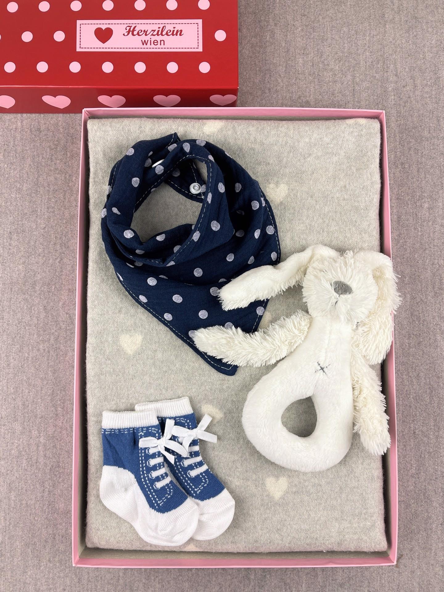 Geschenkbox Set No. 33 Herzen grau/dunkelblau