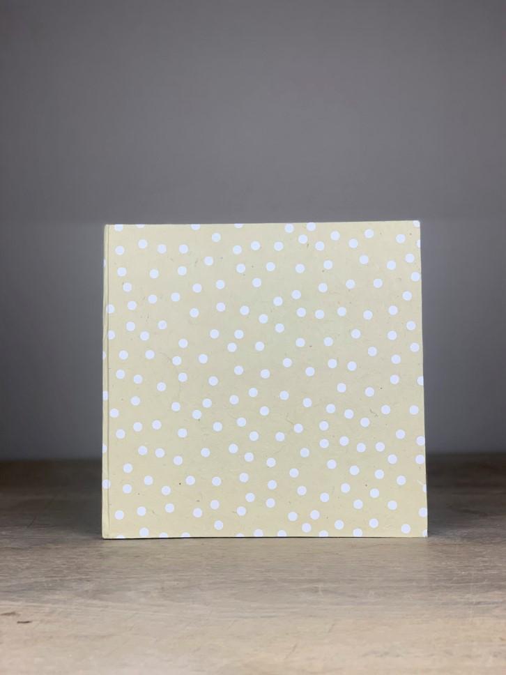 Album groß Quart uni creme/weiß Dots