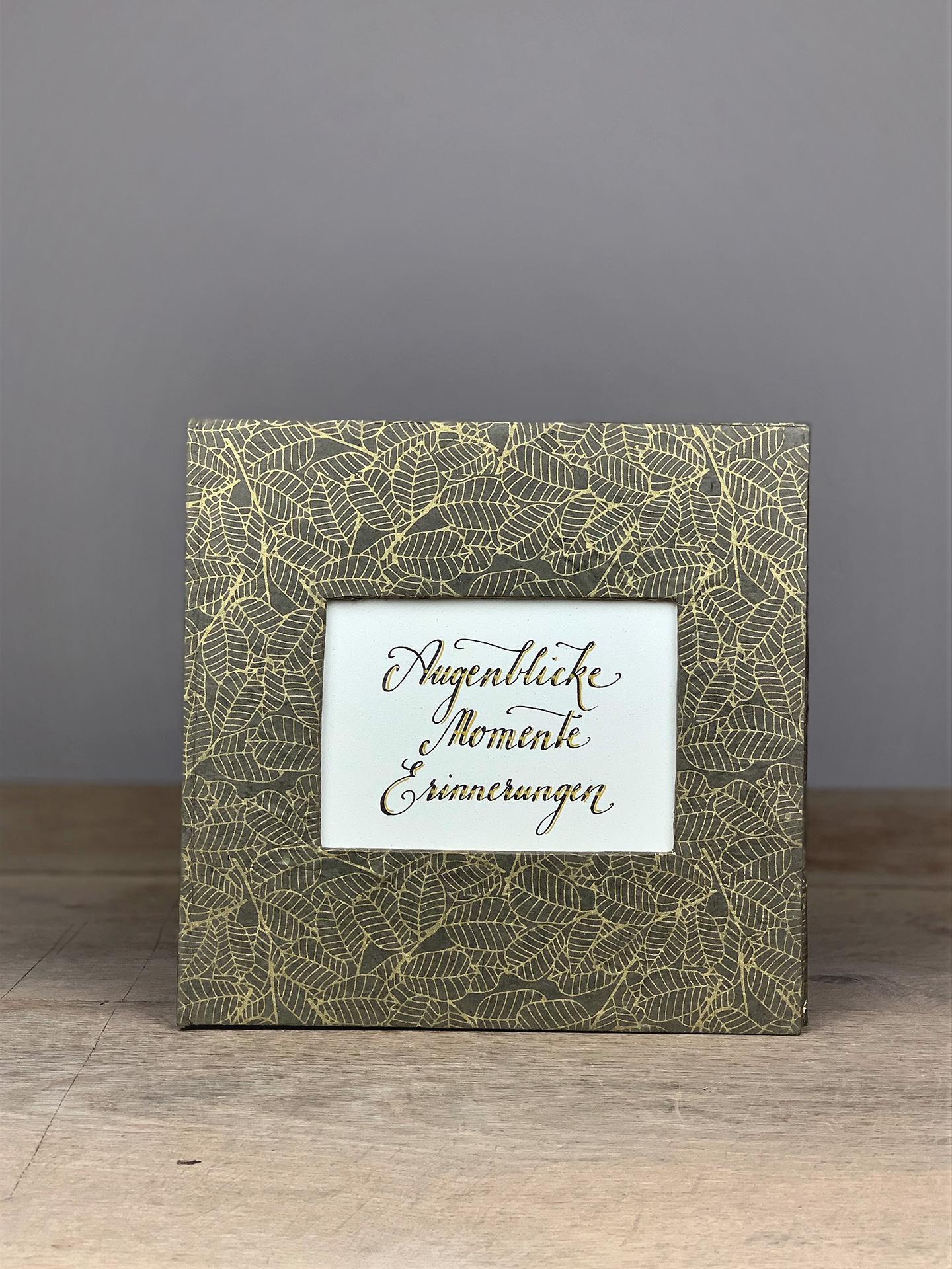 Album groß Quart grau/gold Blätter Augenblicke