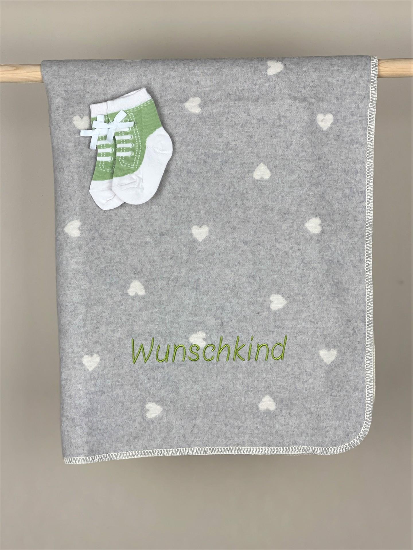 Babydecke No. 06 Herzen grau/weiß Bub