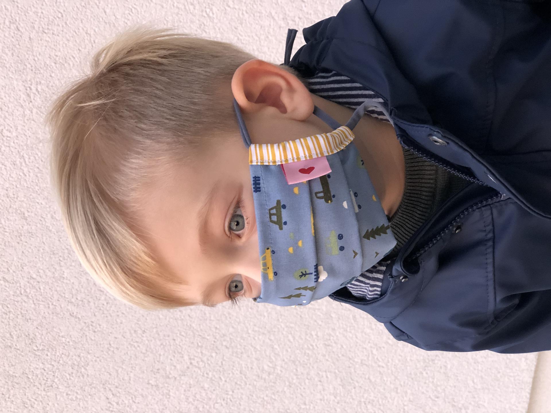 Kindermaske  Autos Blau/Gelb