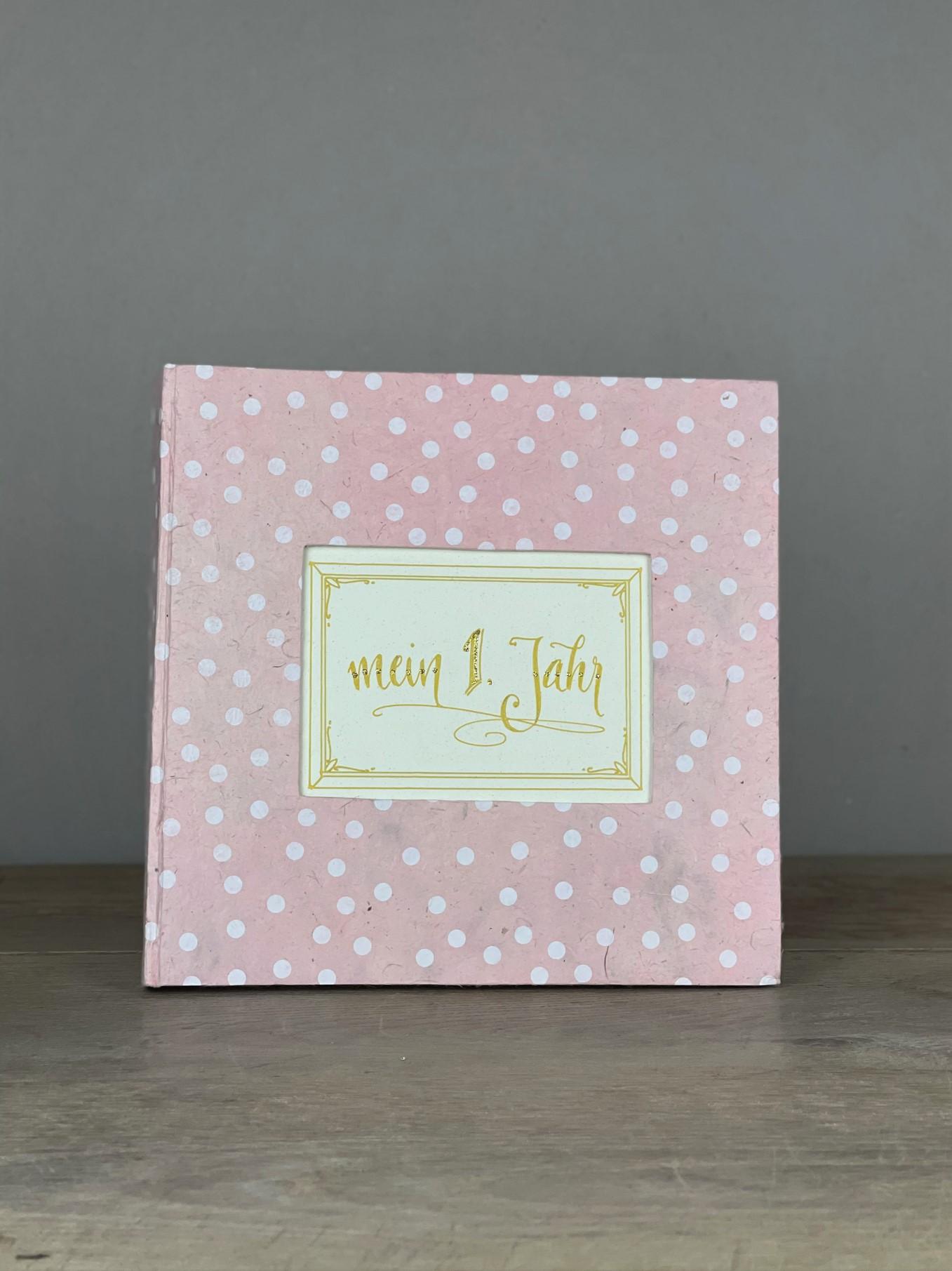 Album groß Quart Dots rosa/weiß mein 1. Jahr