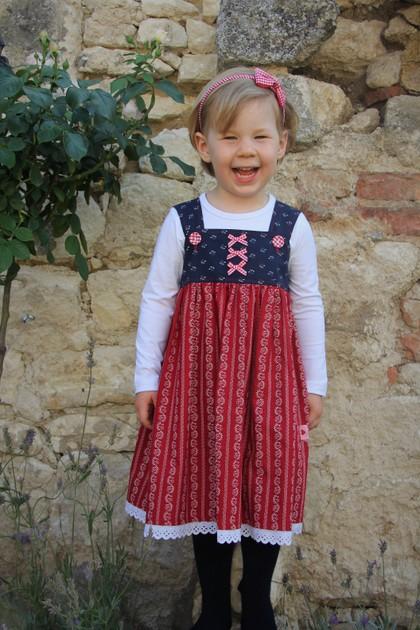 Kleid Dirndl blau/rot