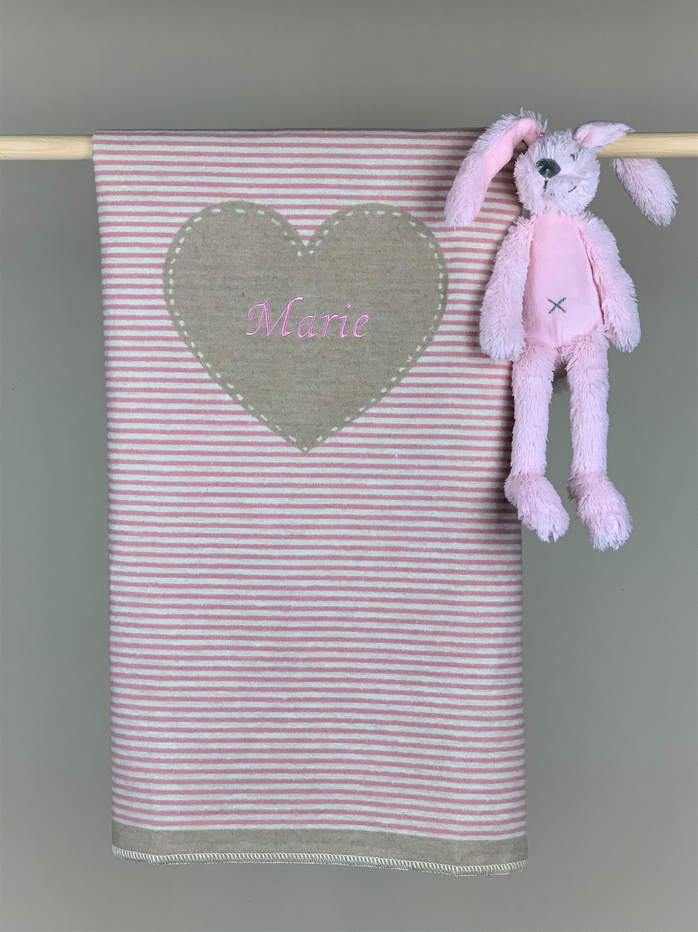 Babydecke No. 19 Herz rosa