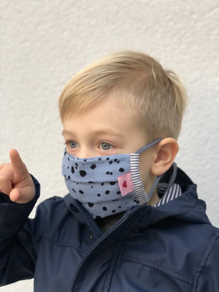 Kindermaske  Dots Blau/schwarz