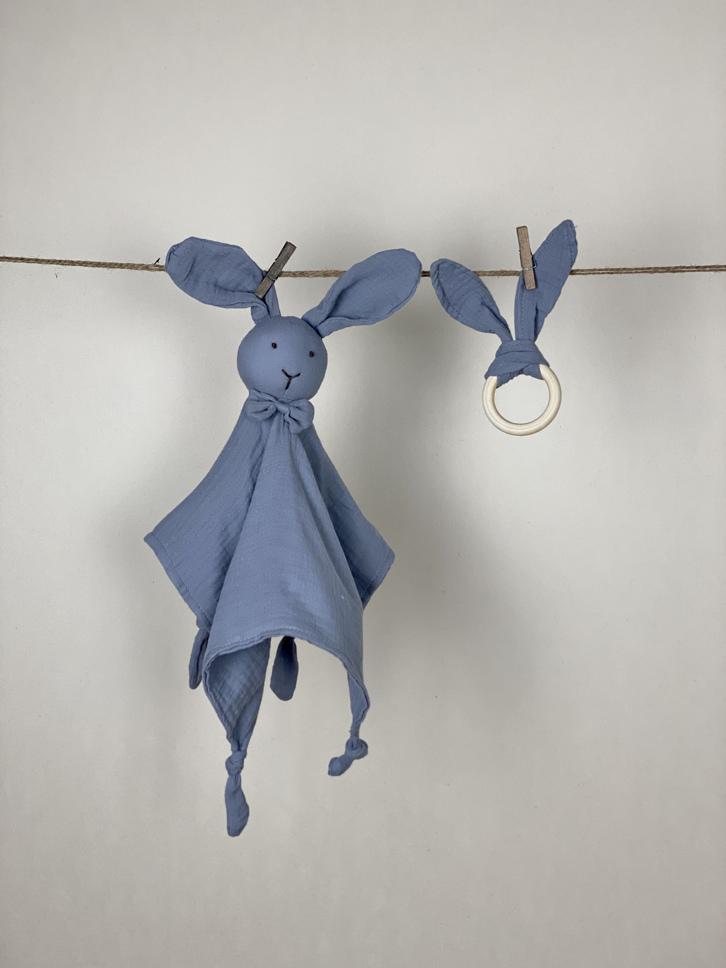 Schmusetuch mit Beißring Set Hase grau