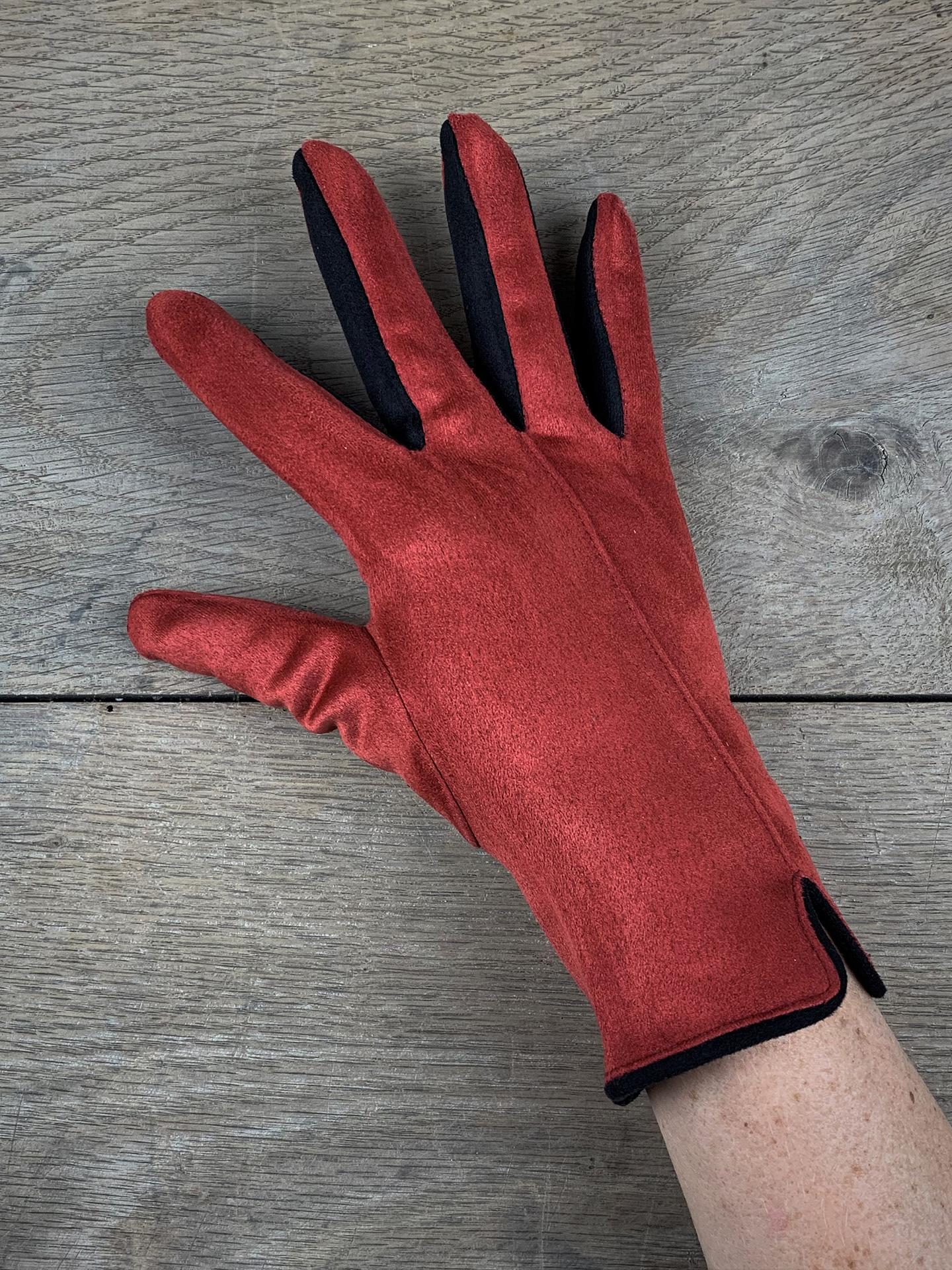 Damenhandschuhe zweifarbig rot/schwarz