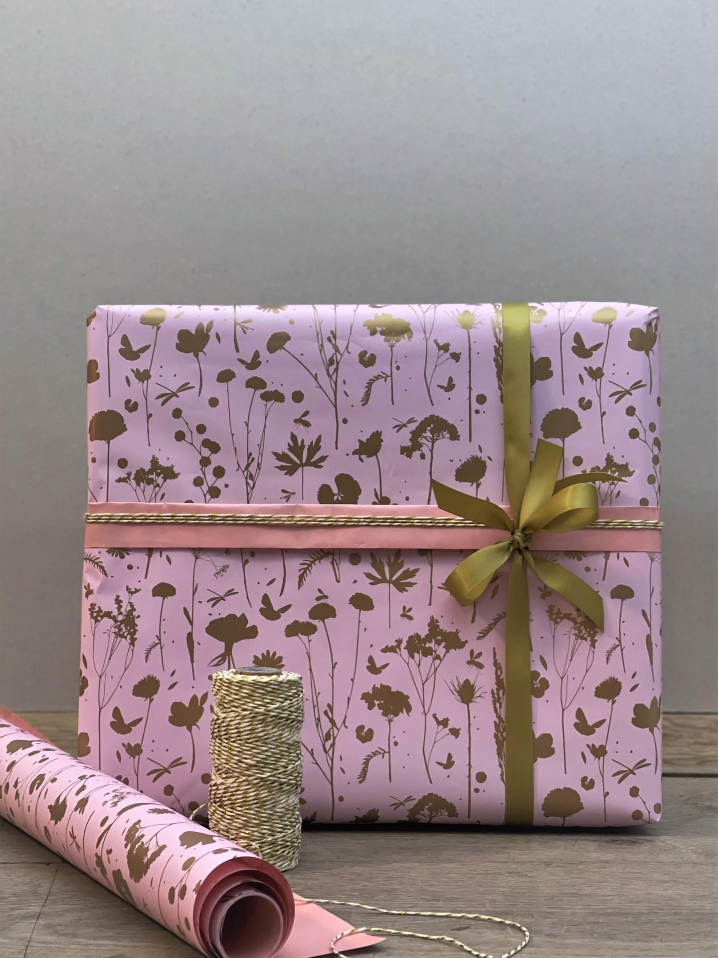 Geschenkpapier doppelseitig rosa/gold floral