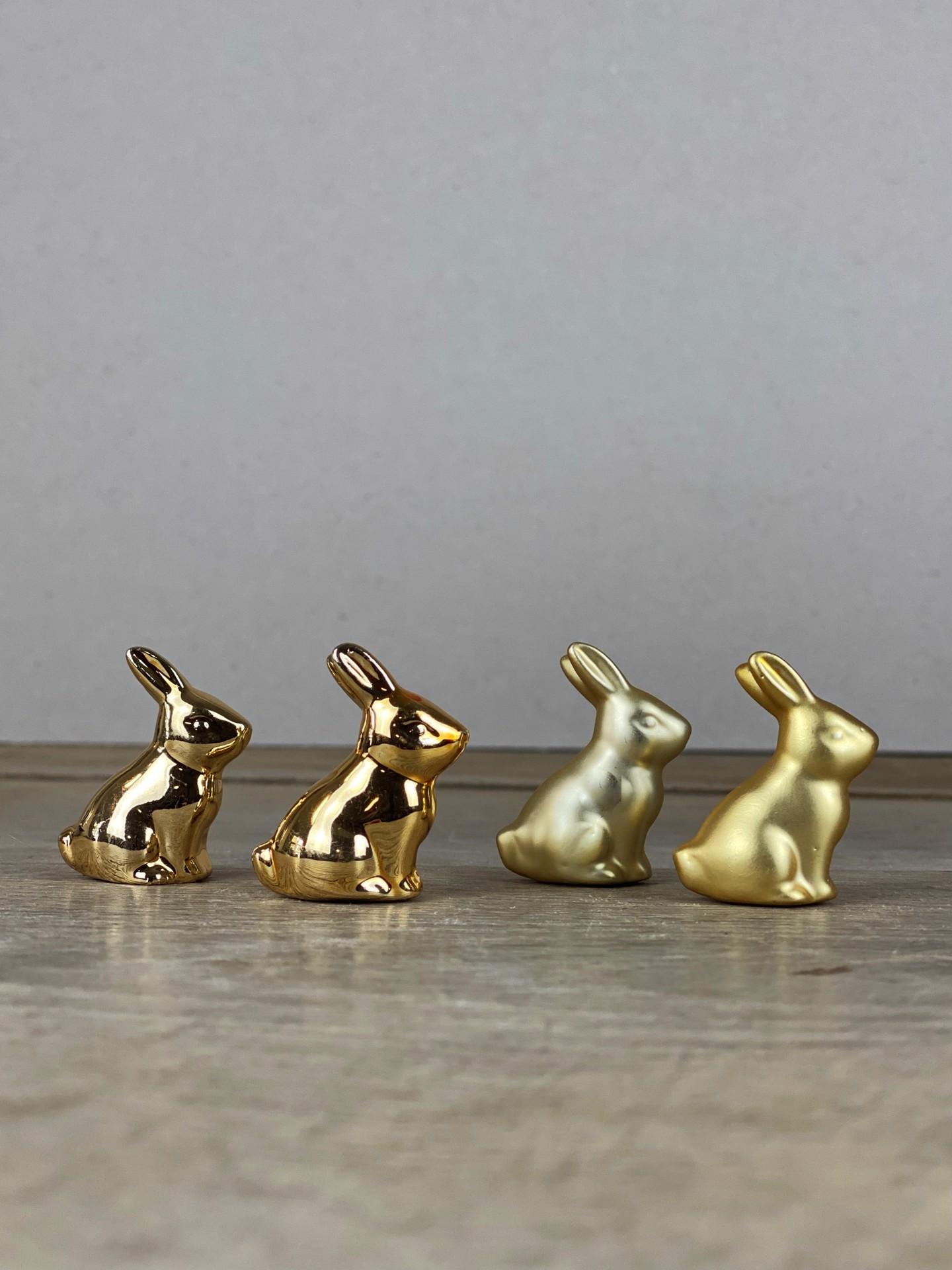 Mini Osterhasen-Set gold glänzend/matt