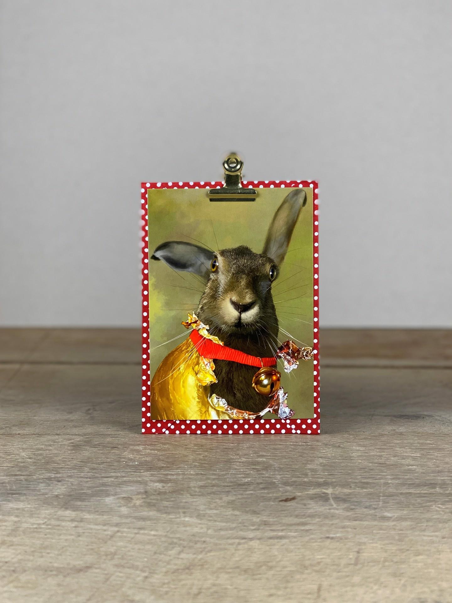 Postkarte Osterhase mit Glocke