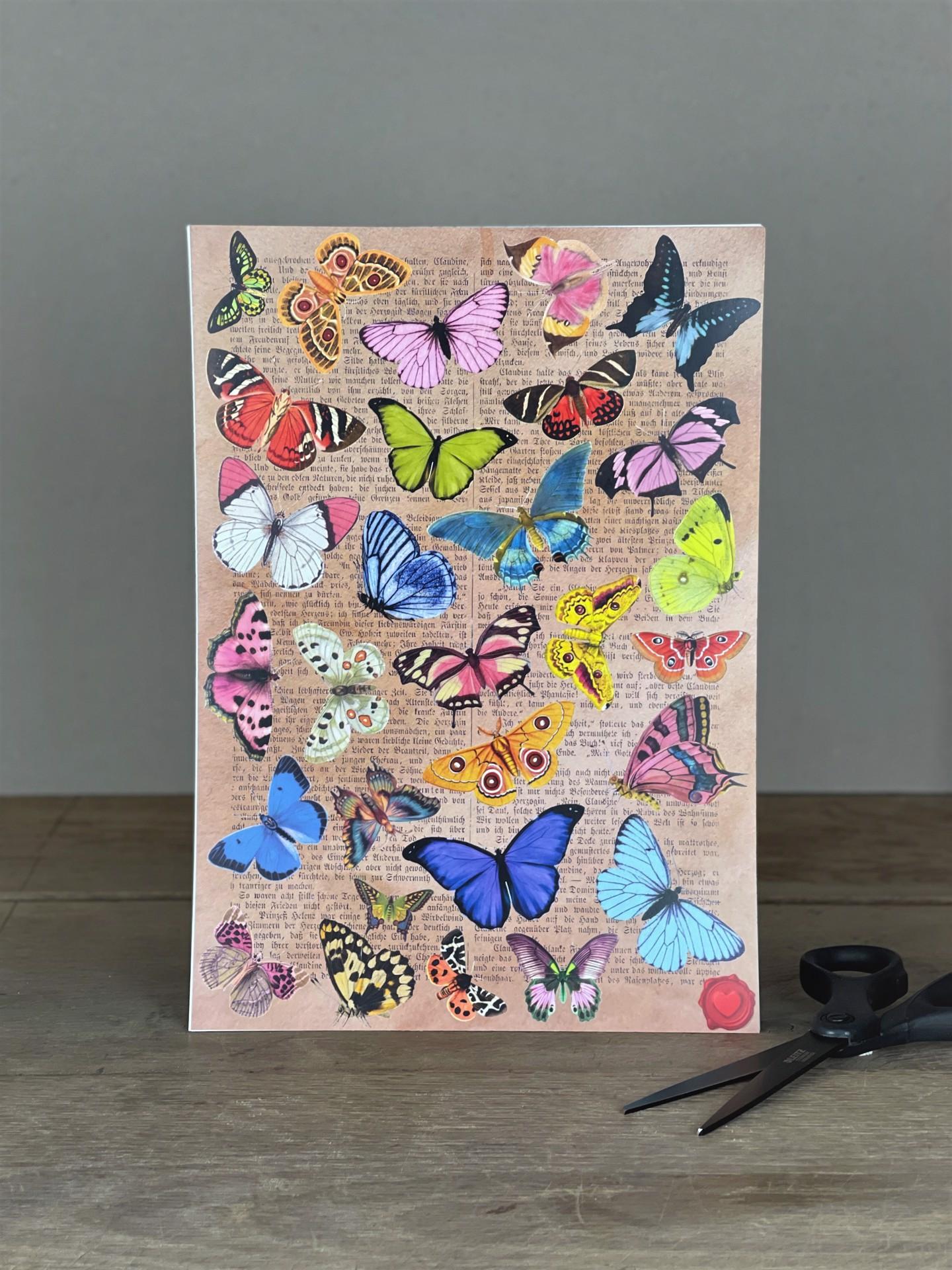 Stickerbogen Schmetterlinge pastell