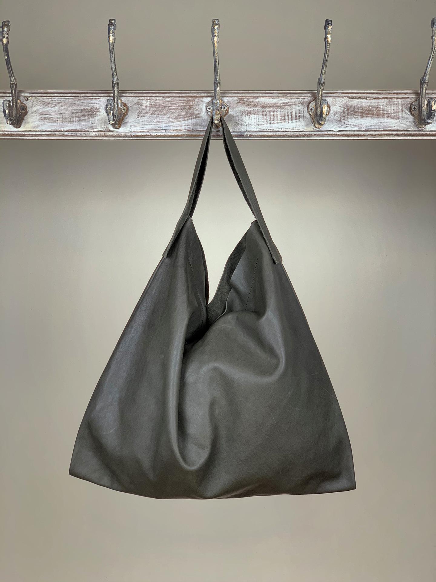 Damen-Handtasche Leder anthrazit