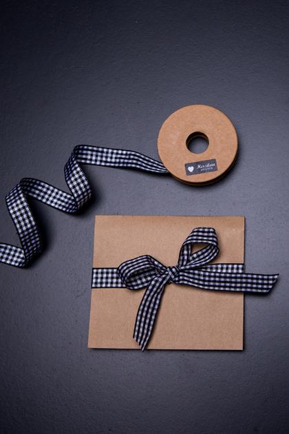 Geschenkband 5m kariert schwarz/weiß