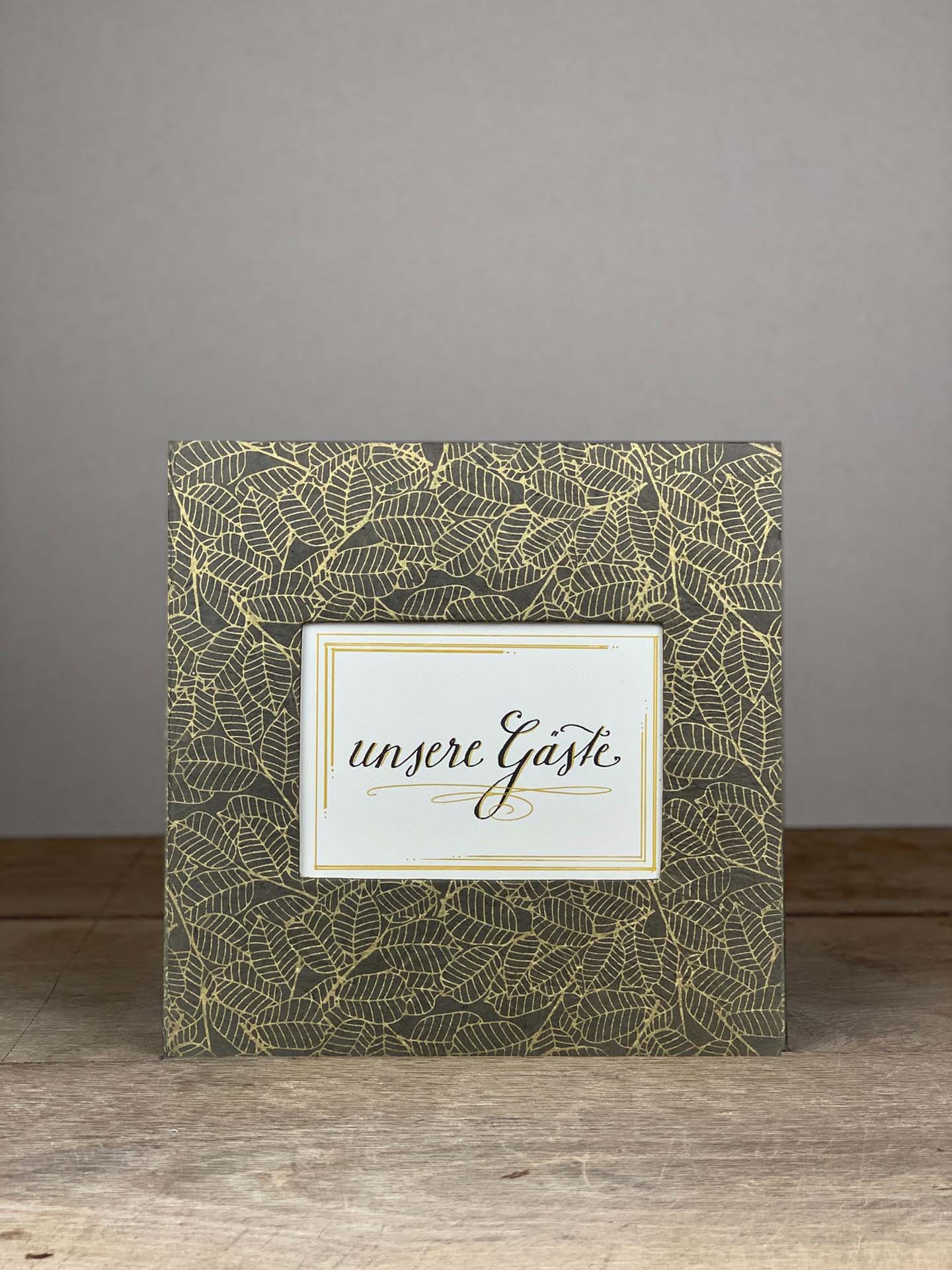 Album Hardcover Quart grau/gold Blätter