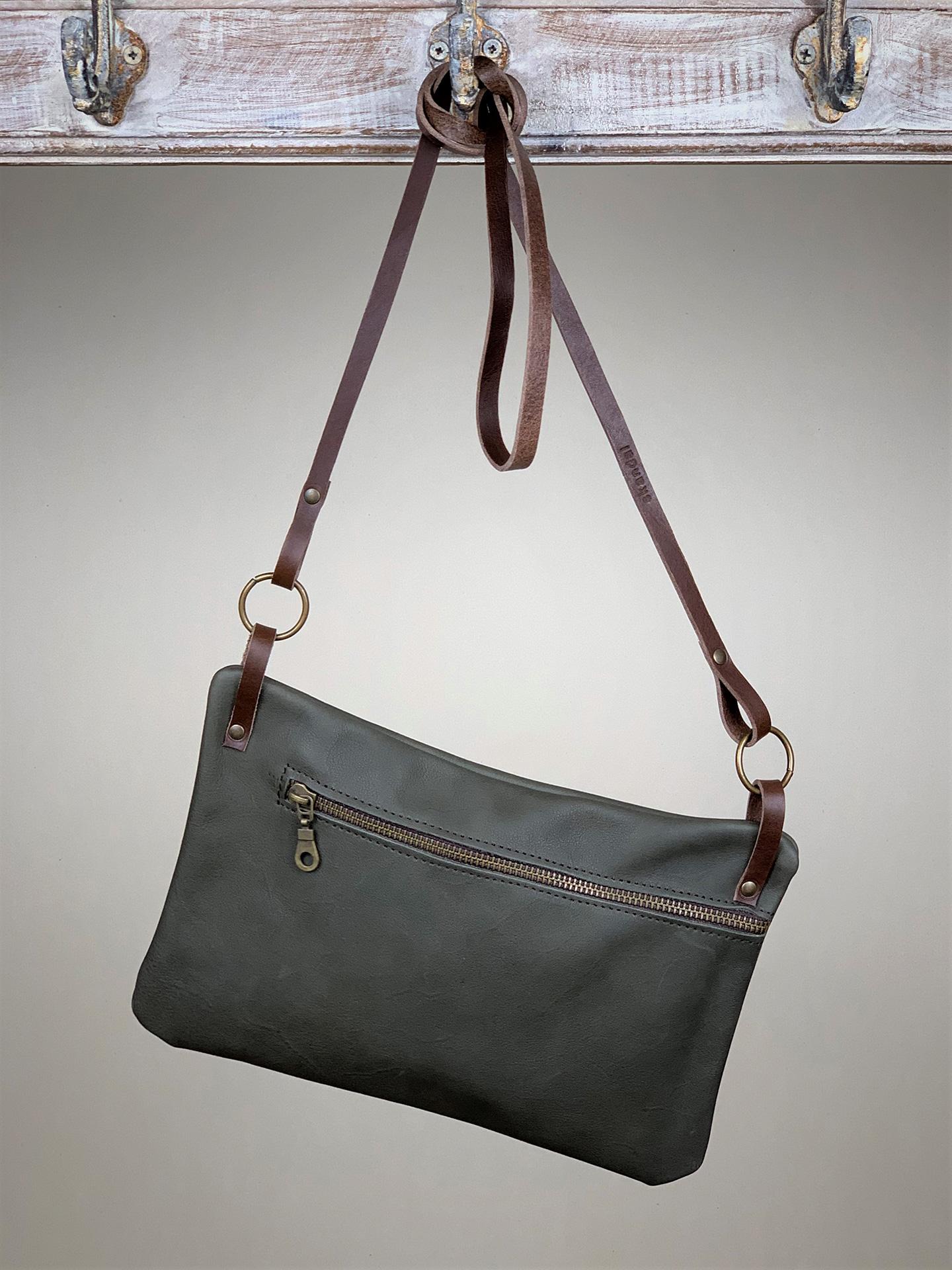 Damen-Handtasche klein Leder anthrazit