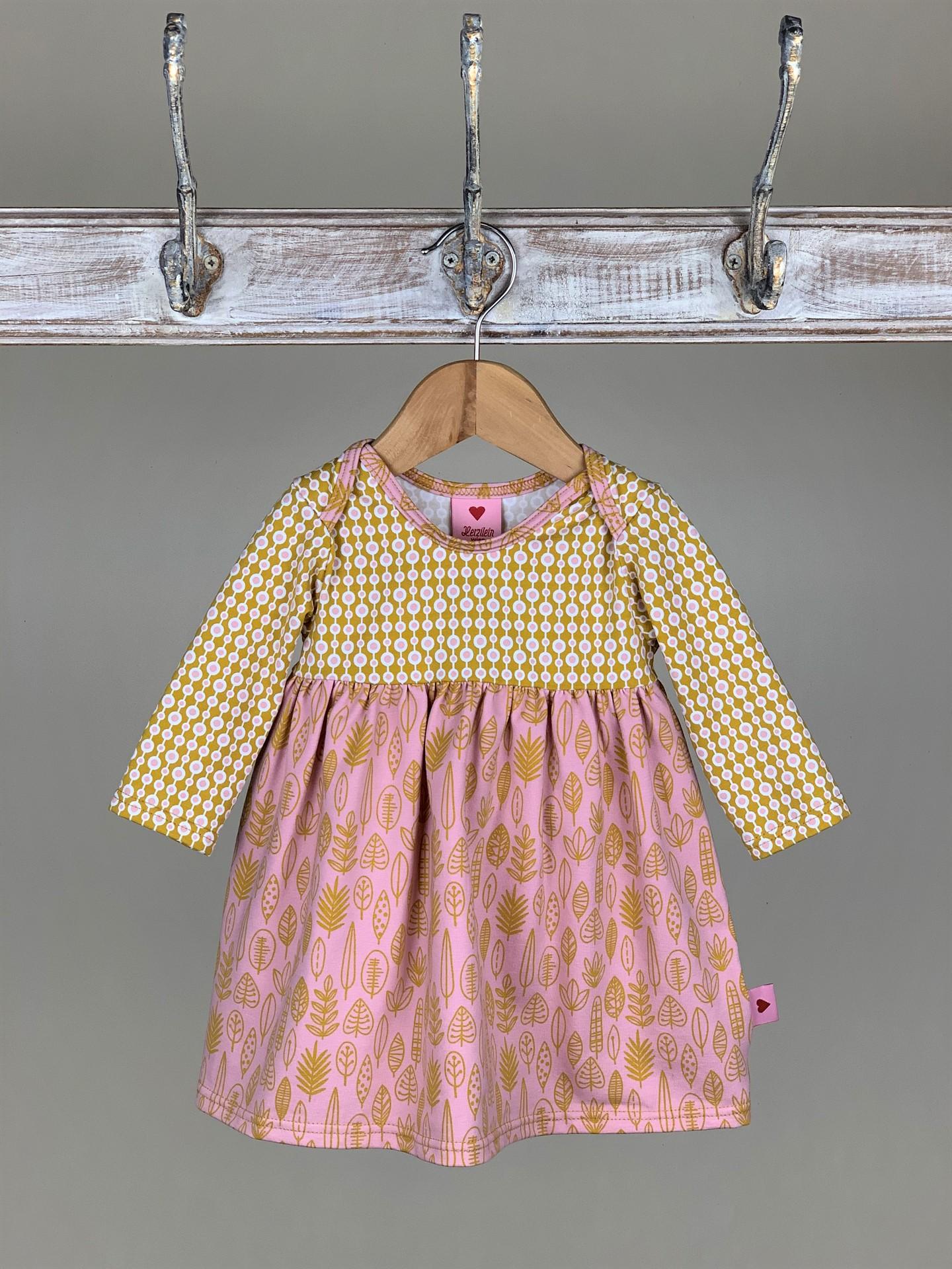 Kleid Baby Herbst senfgelb/rosa