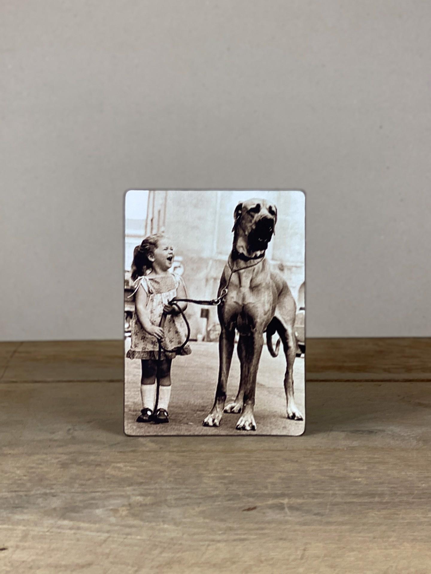 Vintage Holzbild Mädchen Hund
