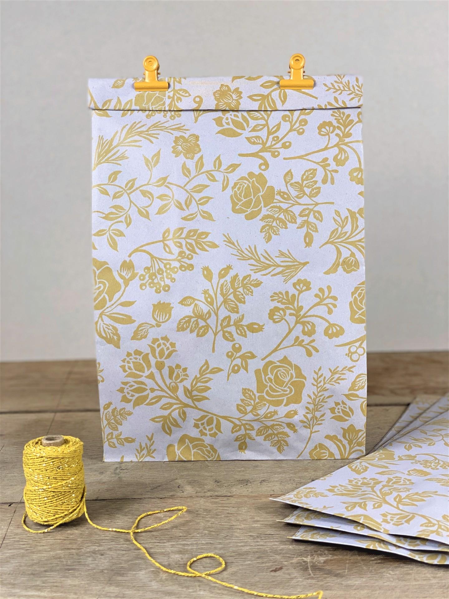 Geschenktüte Seitenfalter floral gelb 3er Set