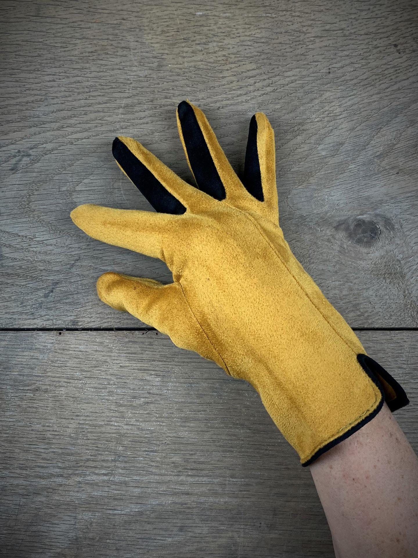 Damenhandschuhe zweifarbig gelb/schwarz