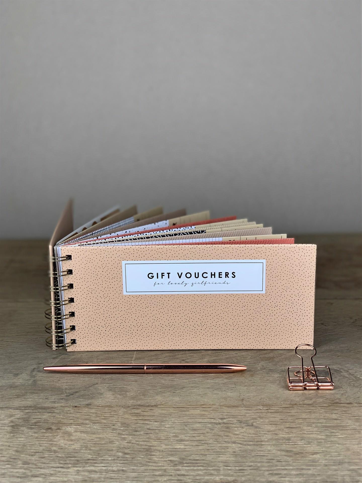 Voucher/Gutschein Buch rosa weiß