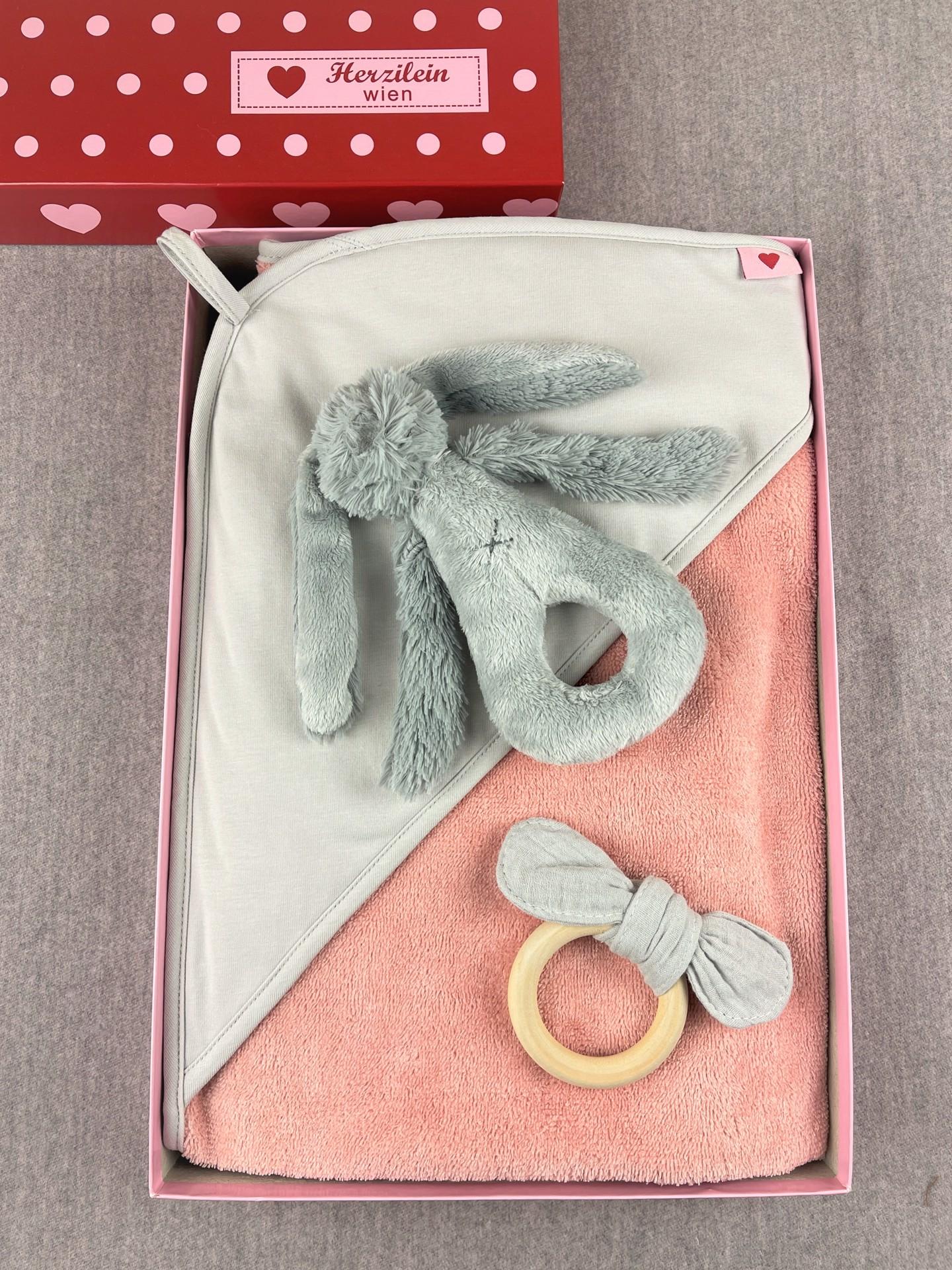 Geschenkbox Set No. 24  Hase grau/rosa