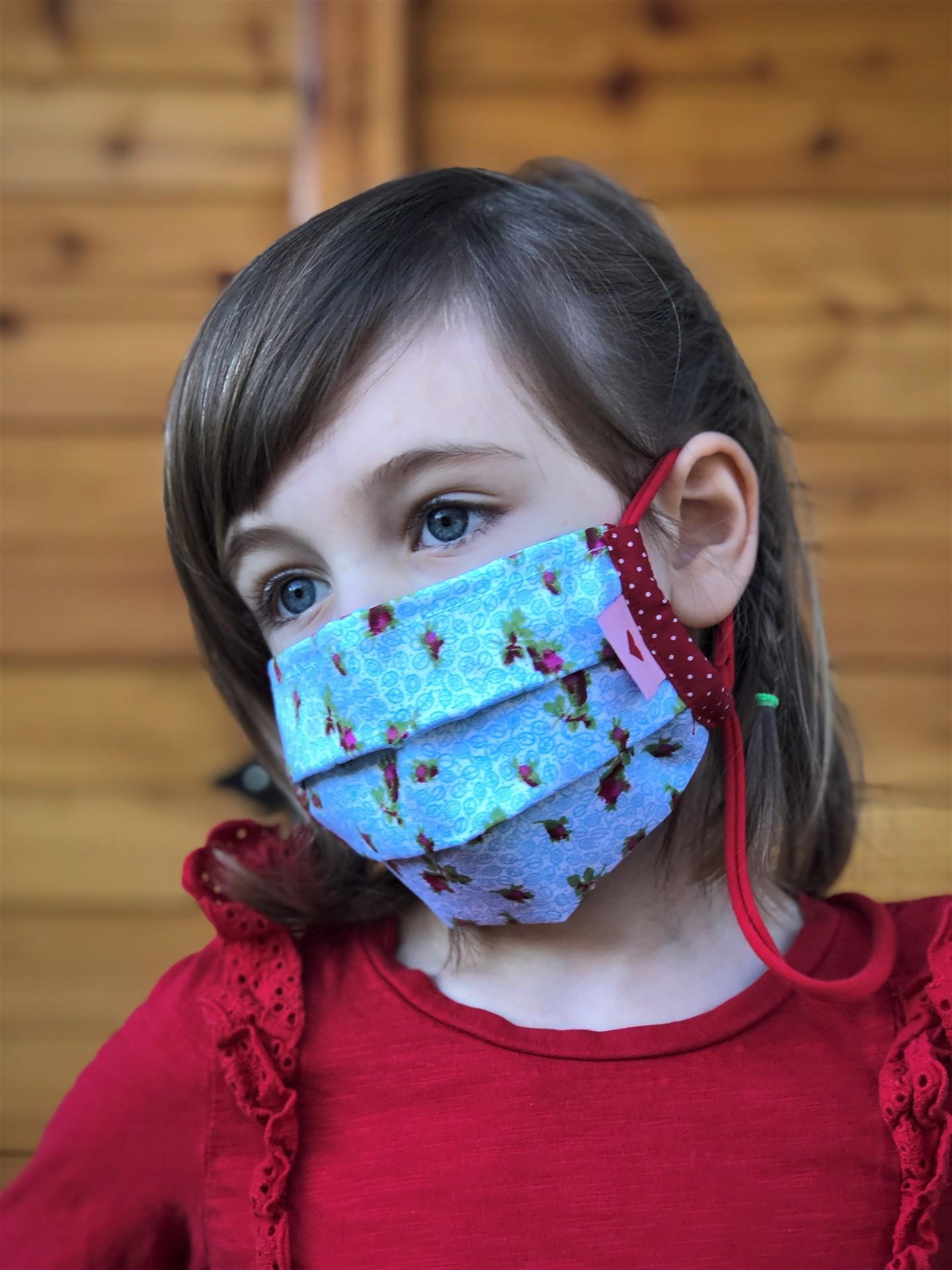 Kindermaske  Rosen blau/rot