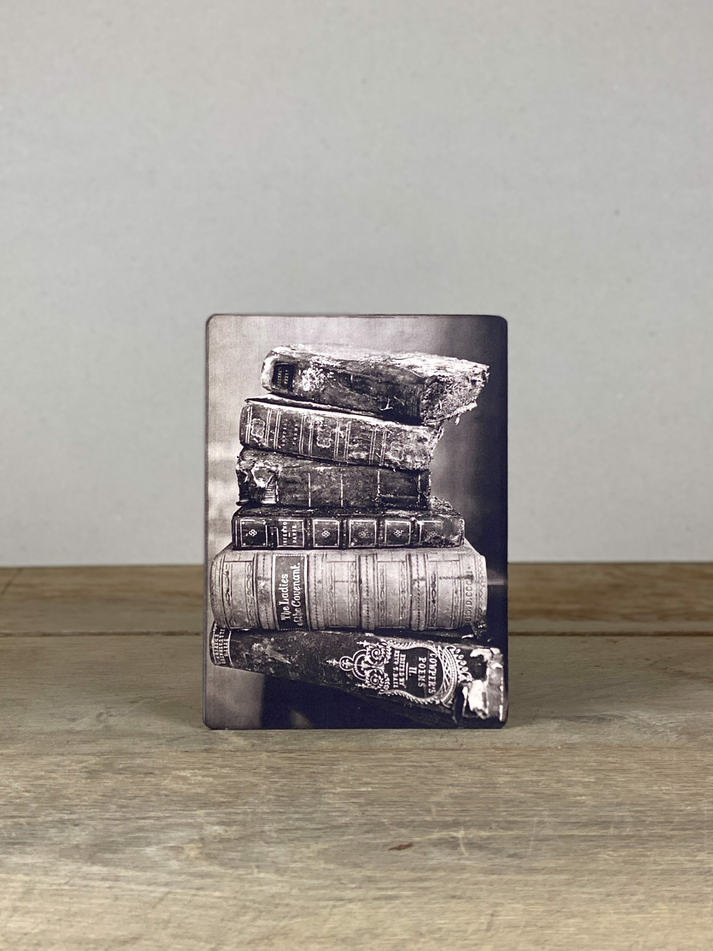 Vintage Holzbild Bücher