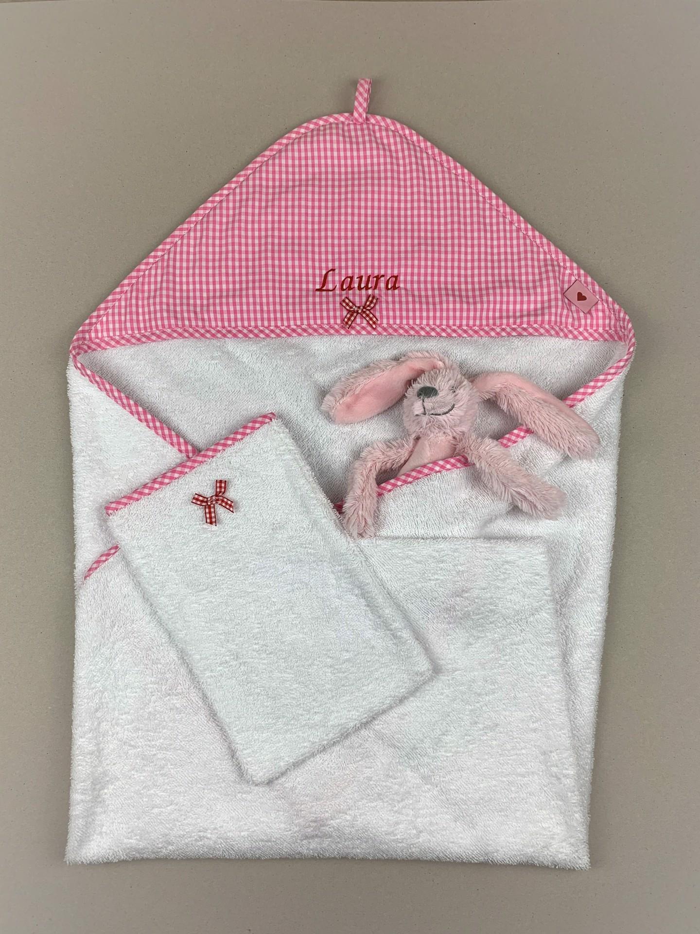 Babybadetuch No. 1 Karo rosa