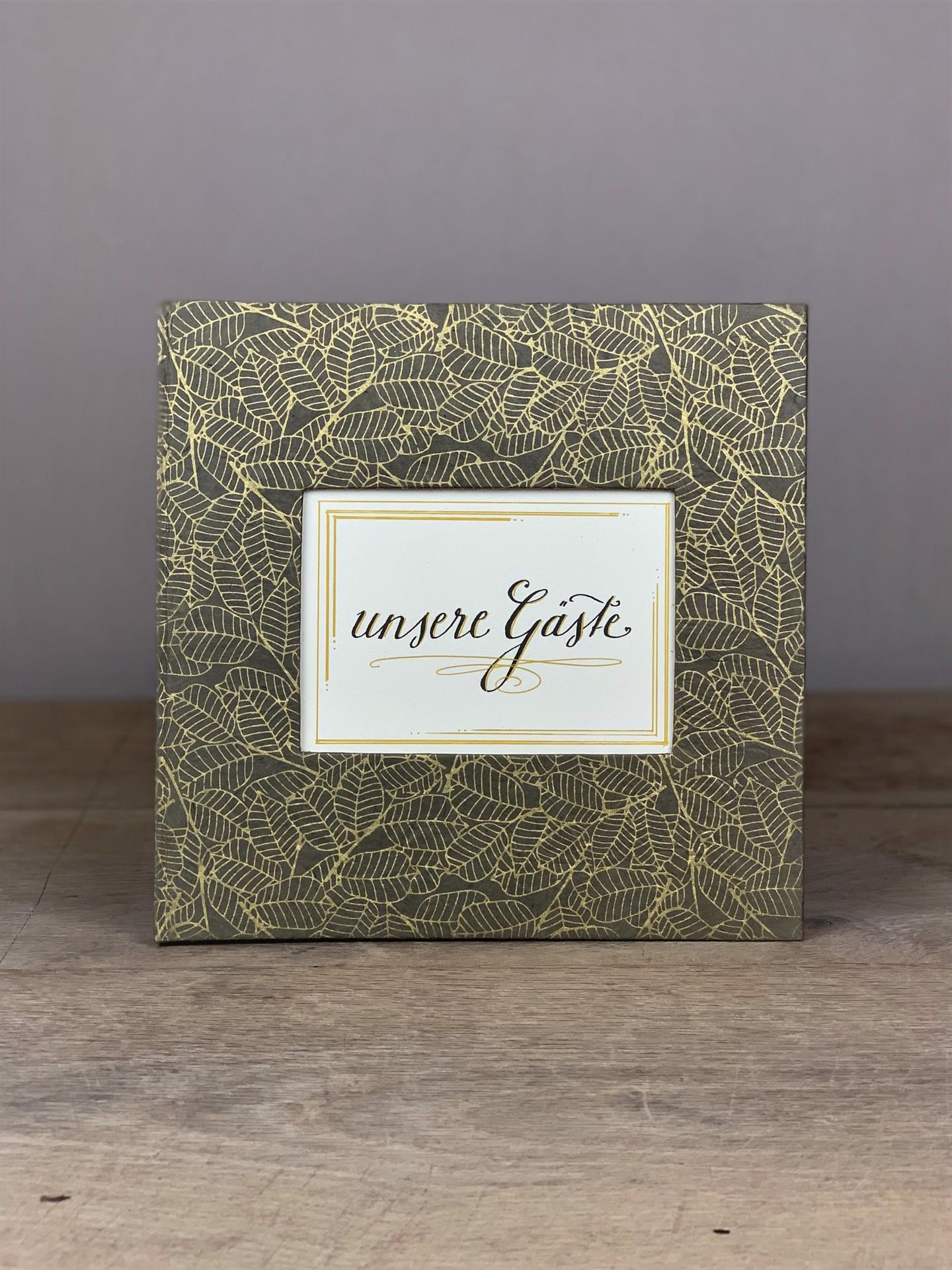Album groß Quart grau/gold Blätter unsere Gäste