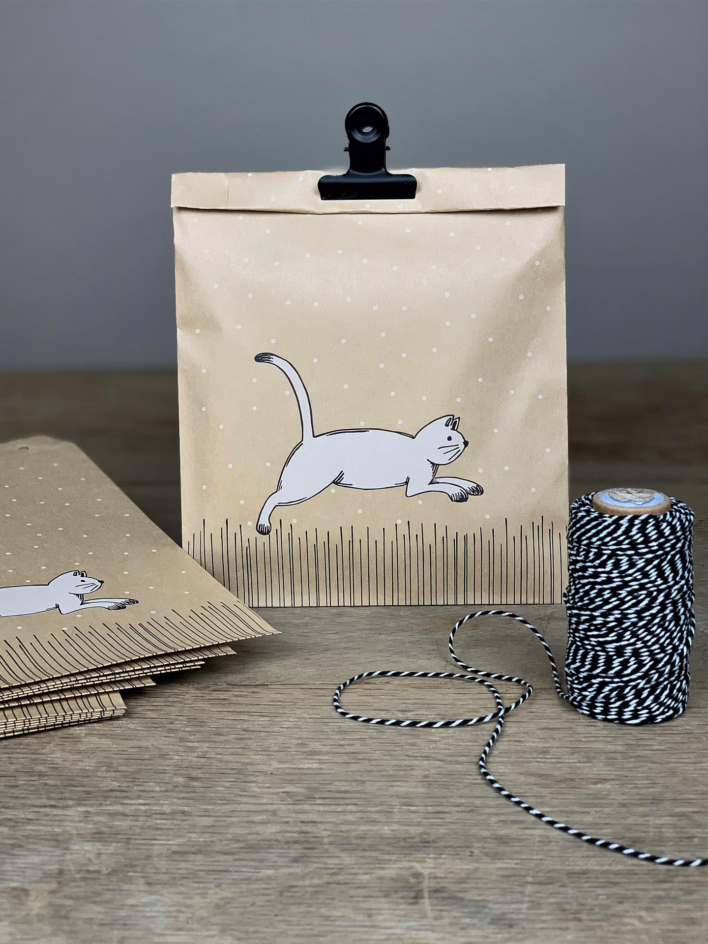 Geschenktüten Flach Set/10 Stk.Tier Katze