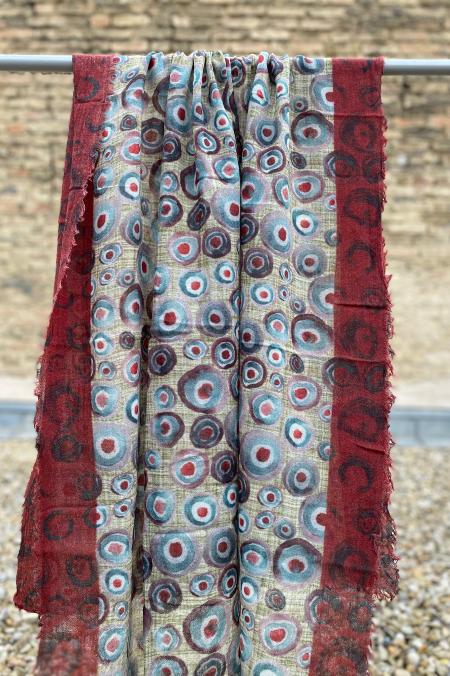 Schal Kreise blau/rot
