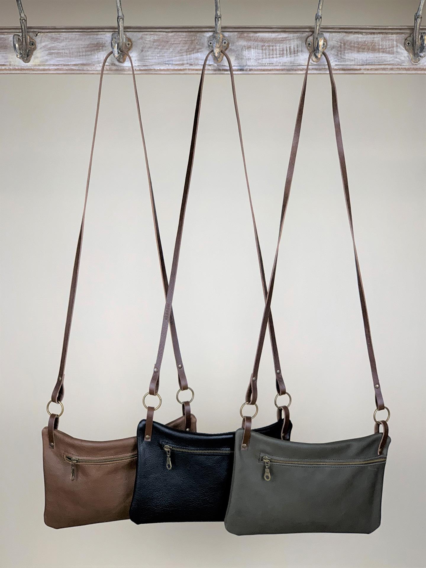 Damen-Handtasche klein Leder schwarz