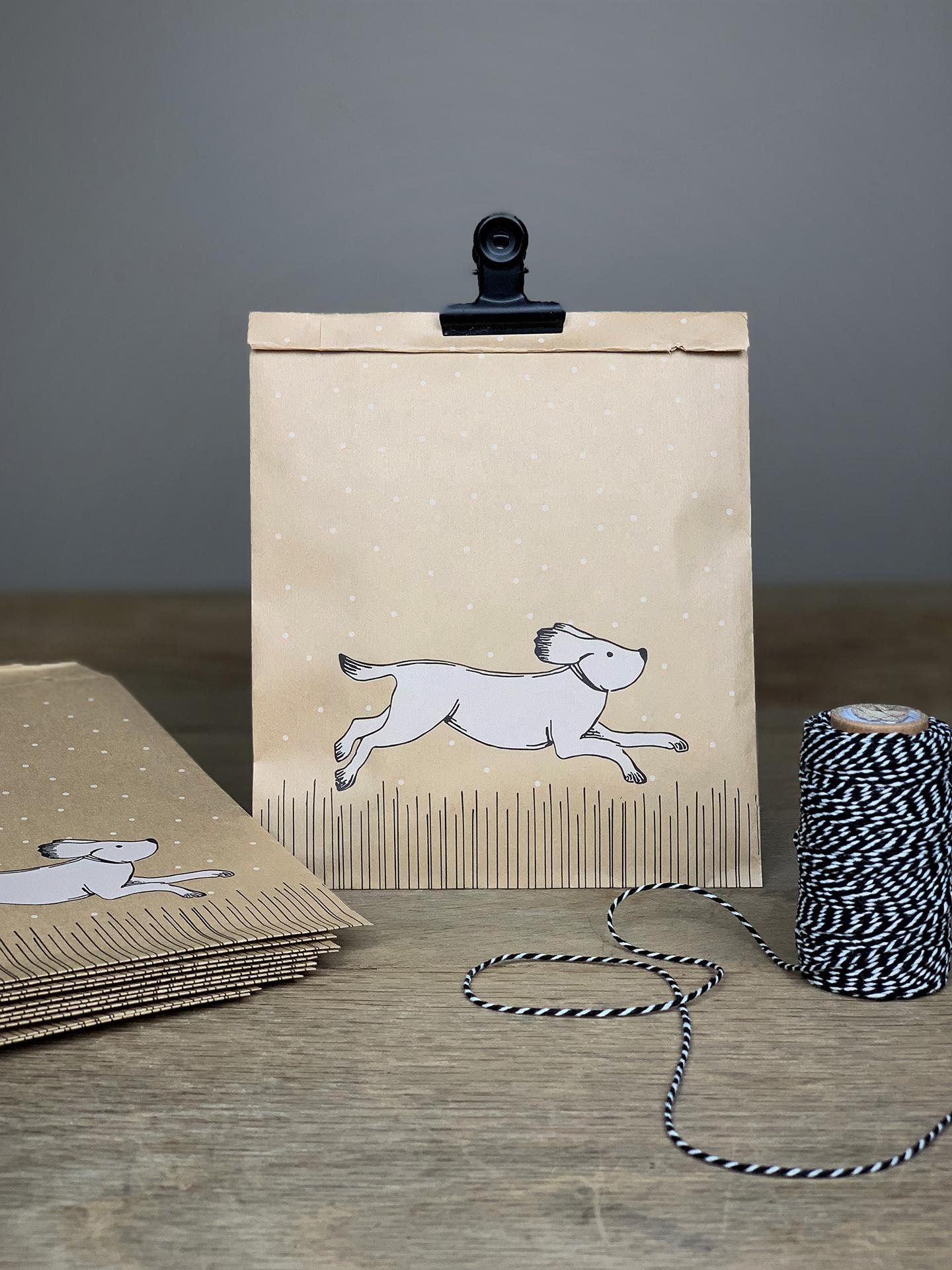 Geschenktüten Flach Set/10 Stk. Tier Hund