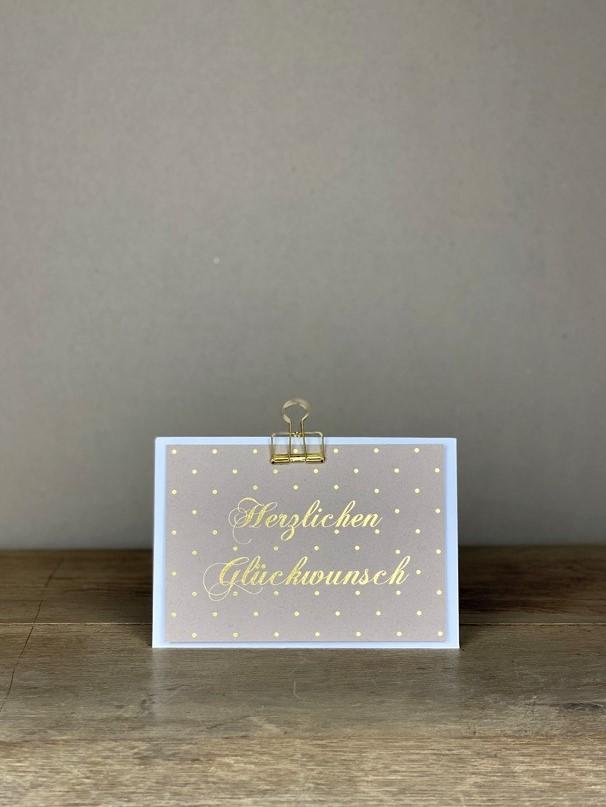 Postkarte gold Herzlichen Glückwunsch